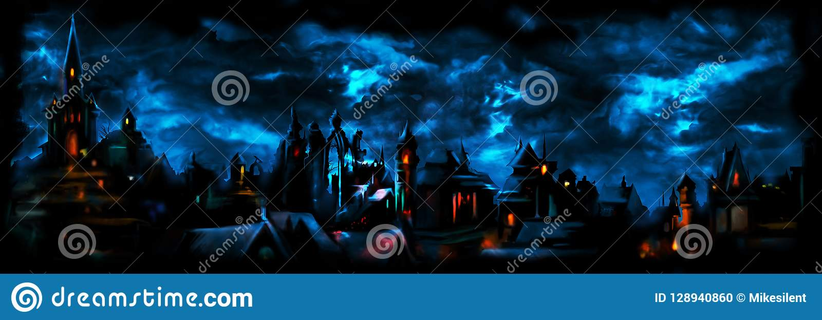 Medieval night town banner