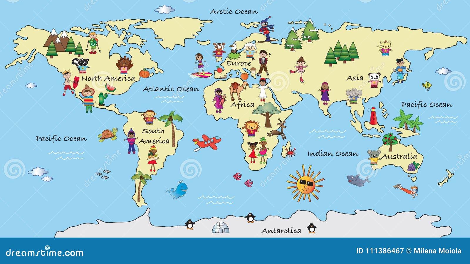 World map illustration stock illustration. Illustration of cartoon ...