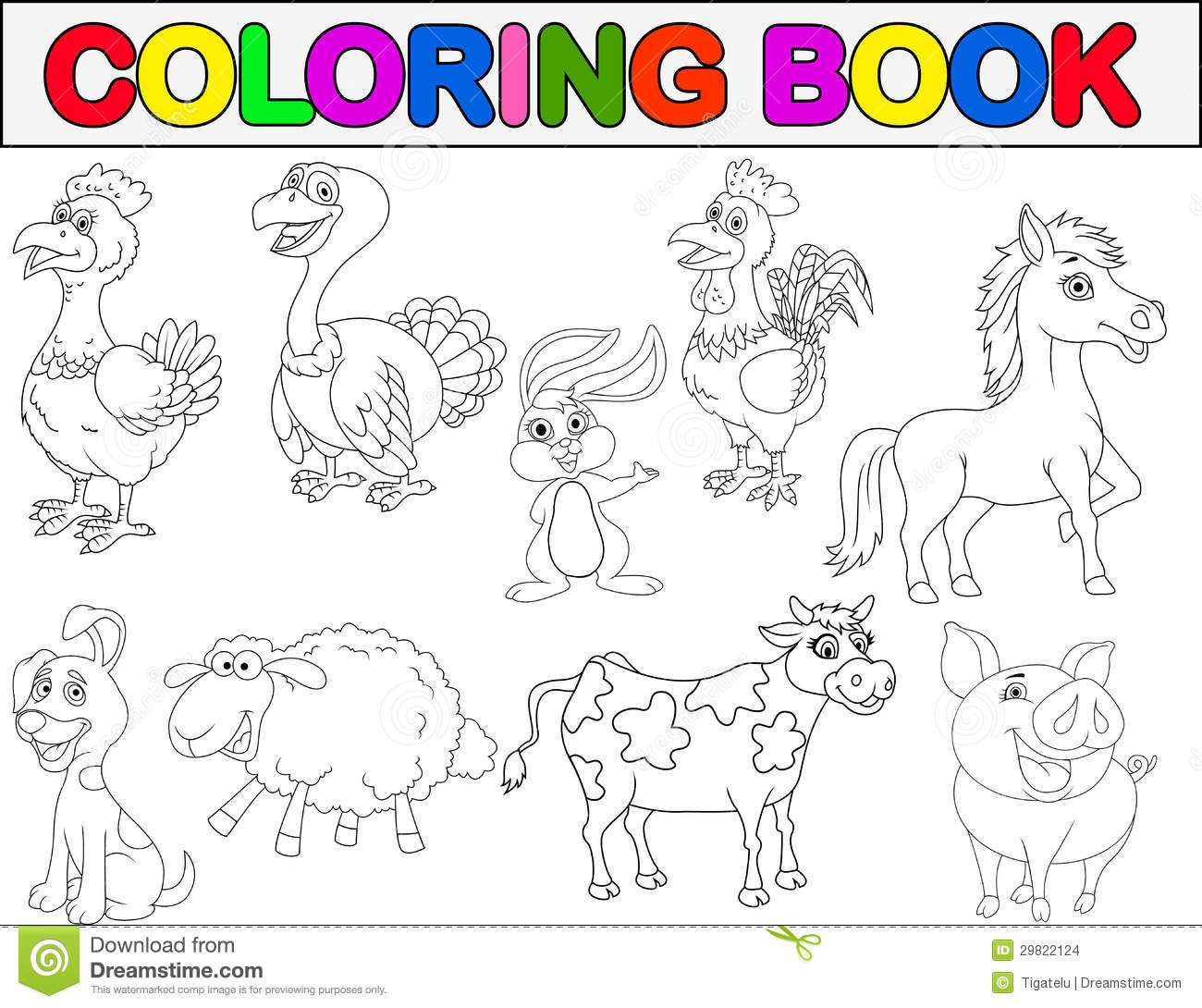 Farm Animal Coloring Book Stock Images Image 29822124