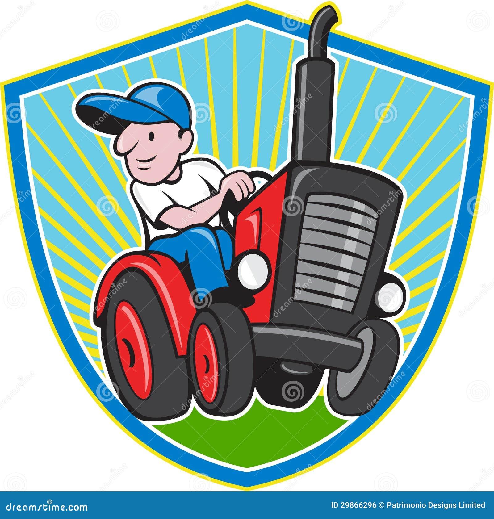 Vintage Tractor Cartoon : Farmer driving vintage tractor cartoon stock vector