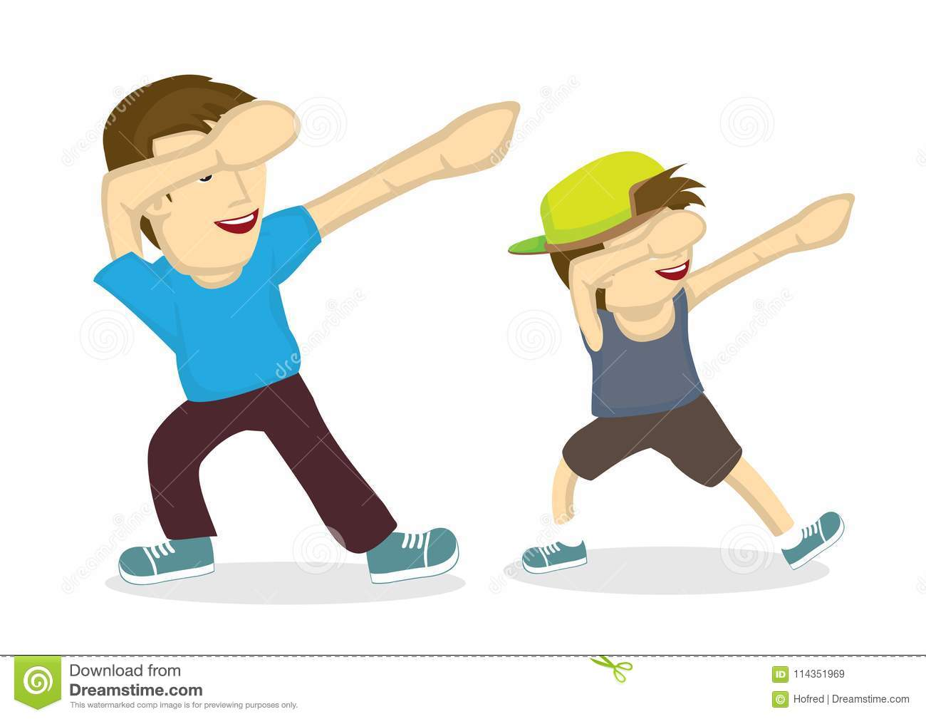 illustration of father and his son doing a dab stock vector