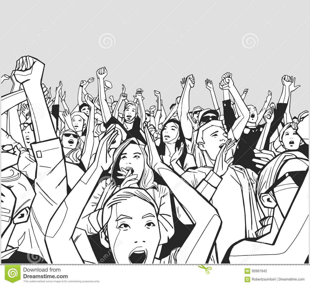 Draw House Plans Free Illustration Of Festival Crowd Cheering Stock Illustration
