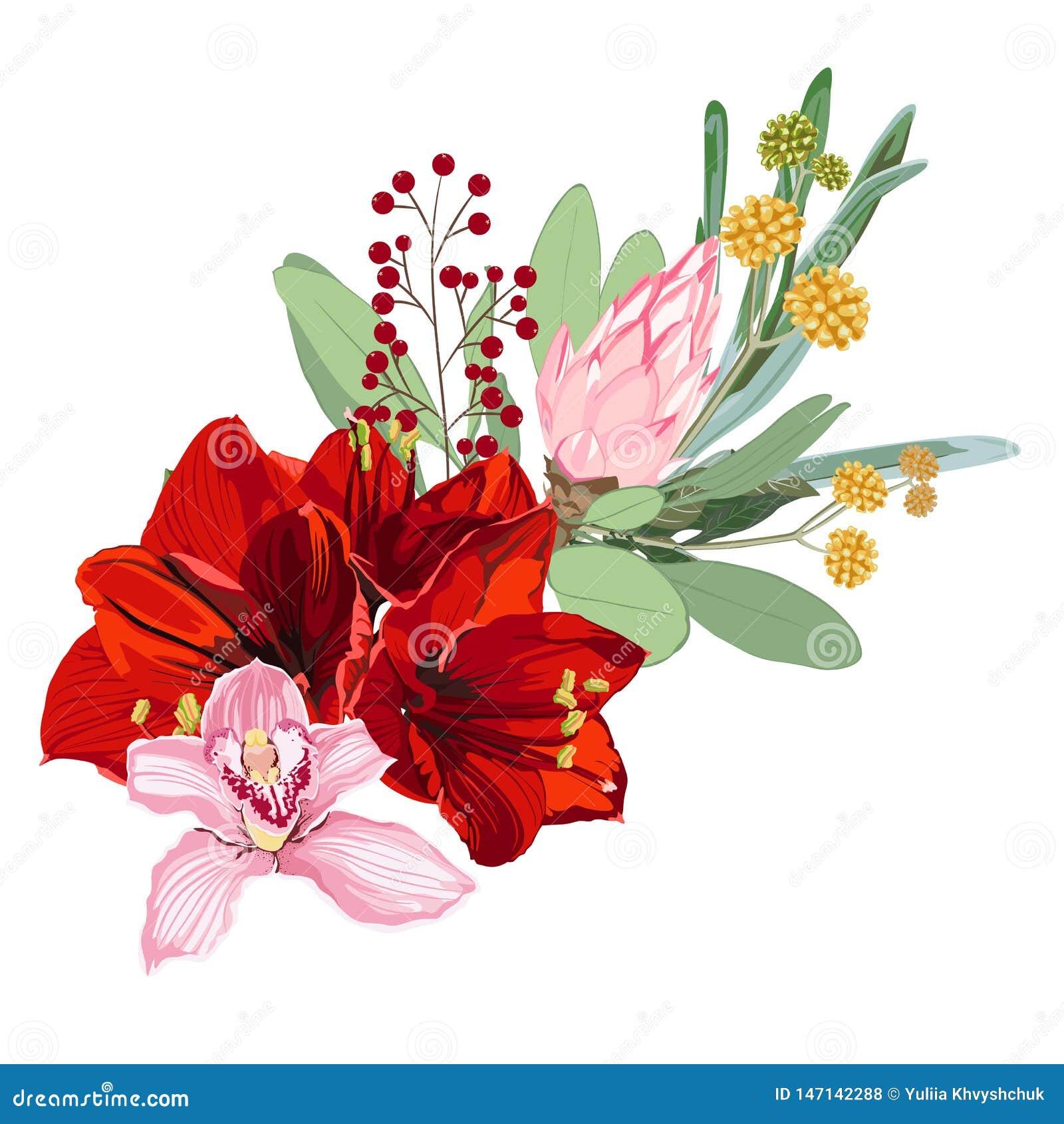 Illustration, feuille et fleurs tropicales florales Composition botanique pour ?pouser, carte de voeux
