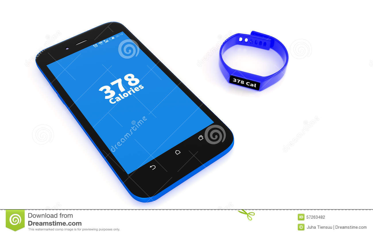 Illustration Of Fitness Tracker And App On Smartphone Stock