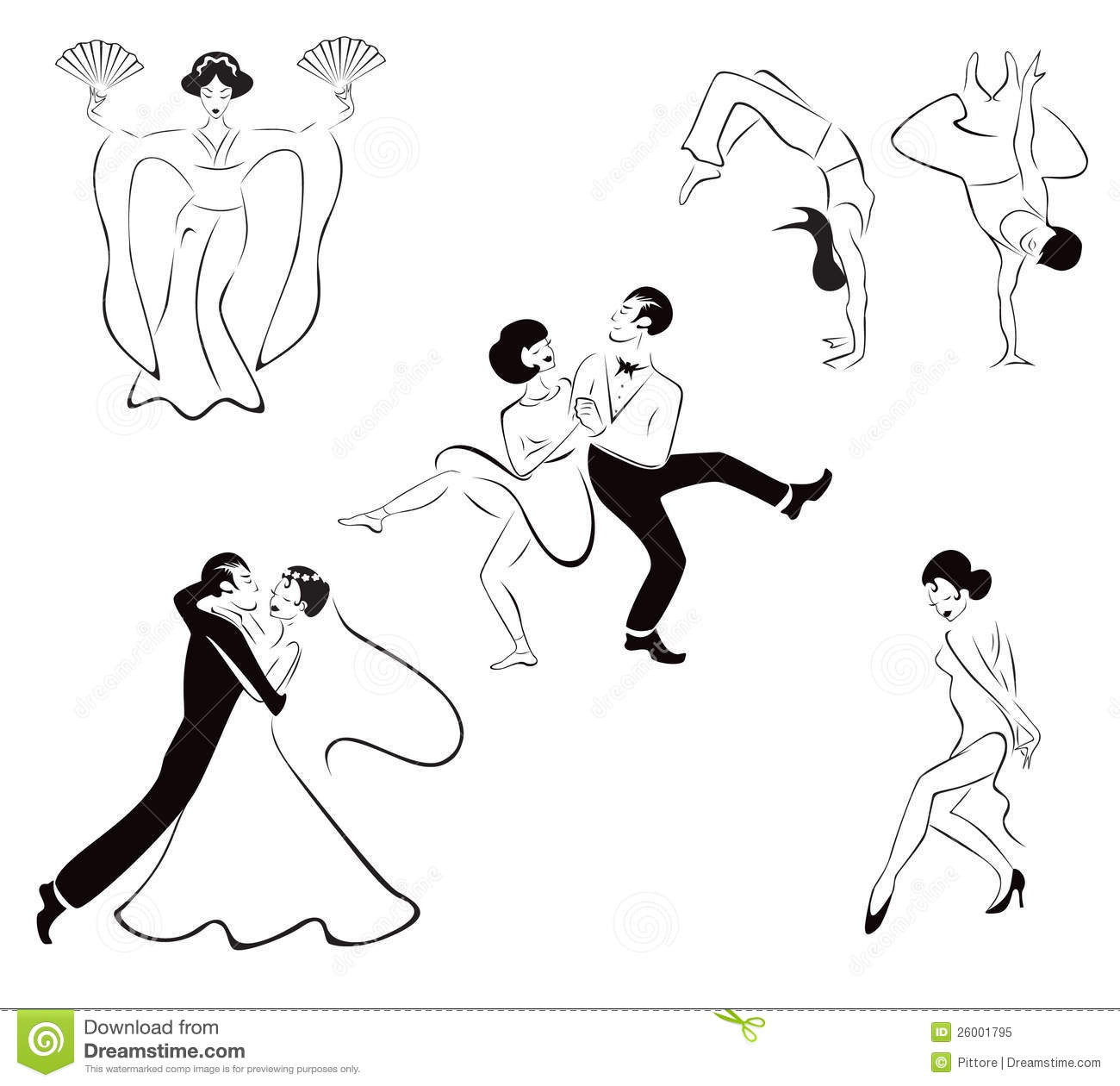 Illustration Of Five Dance Styles Japanese Dance Royalty Free Stock Photo