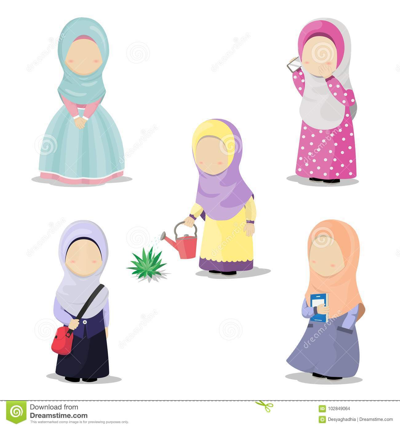 Illustration of five little cute girls with hijab doing daily activities make a phone call watering a plant go to school carrying a book and also girl