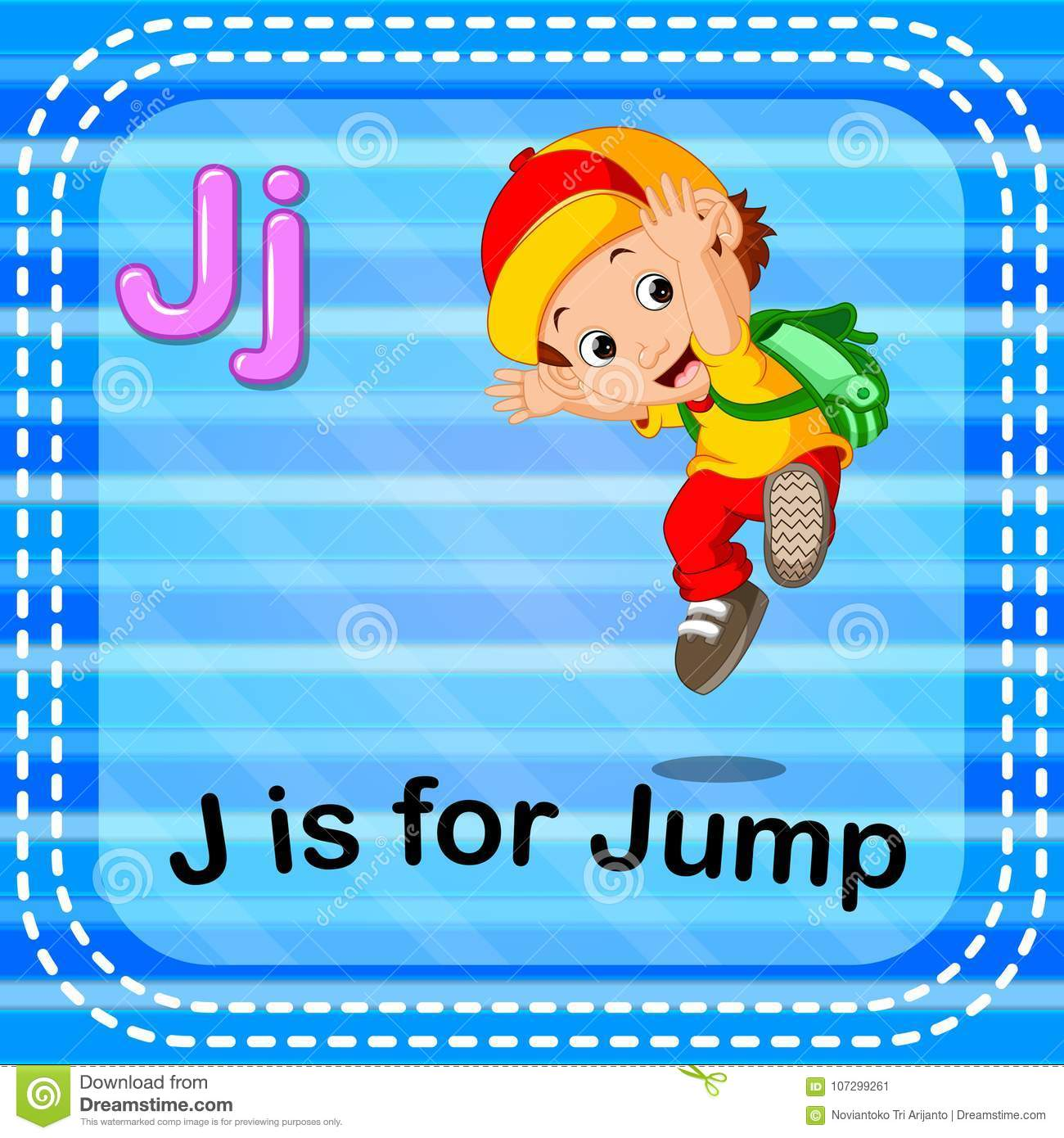 Flashcard letter J is for jump