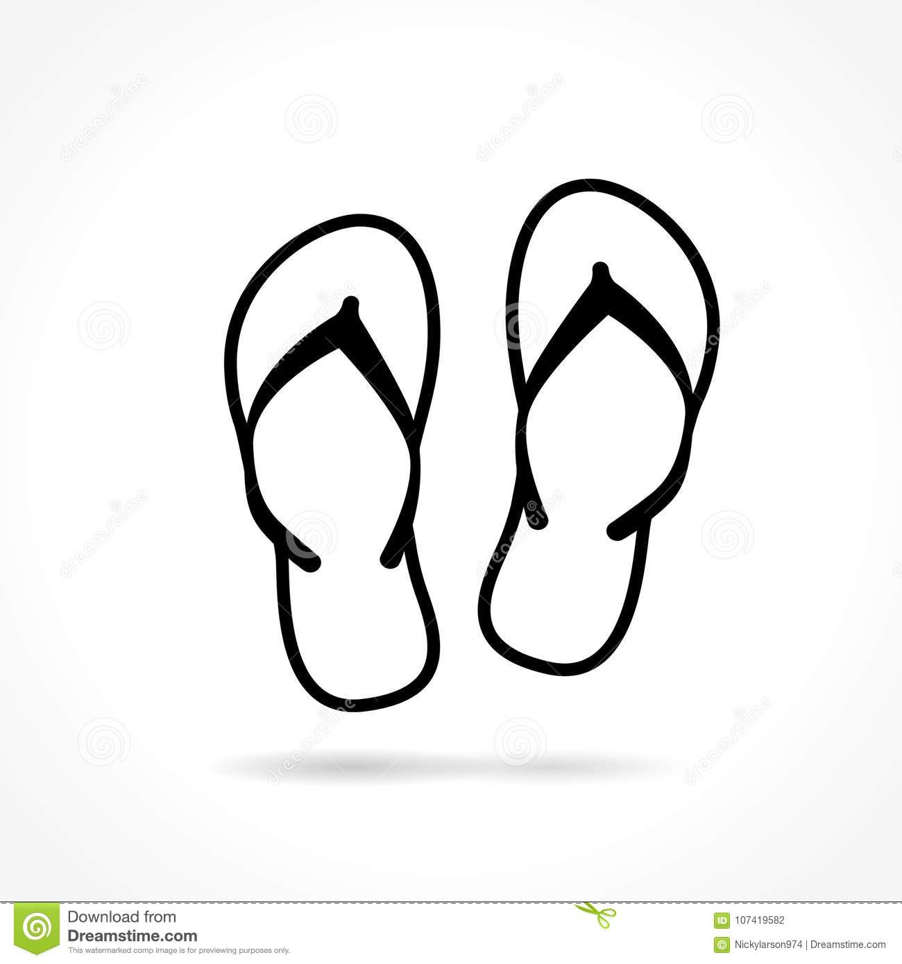 d63fbaec261c1d Flip Flop Icon On White Background Stock Vector - Illustration of ...