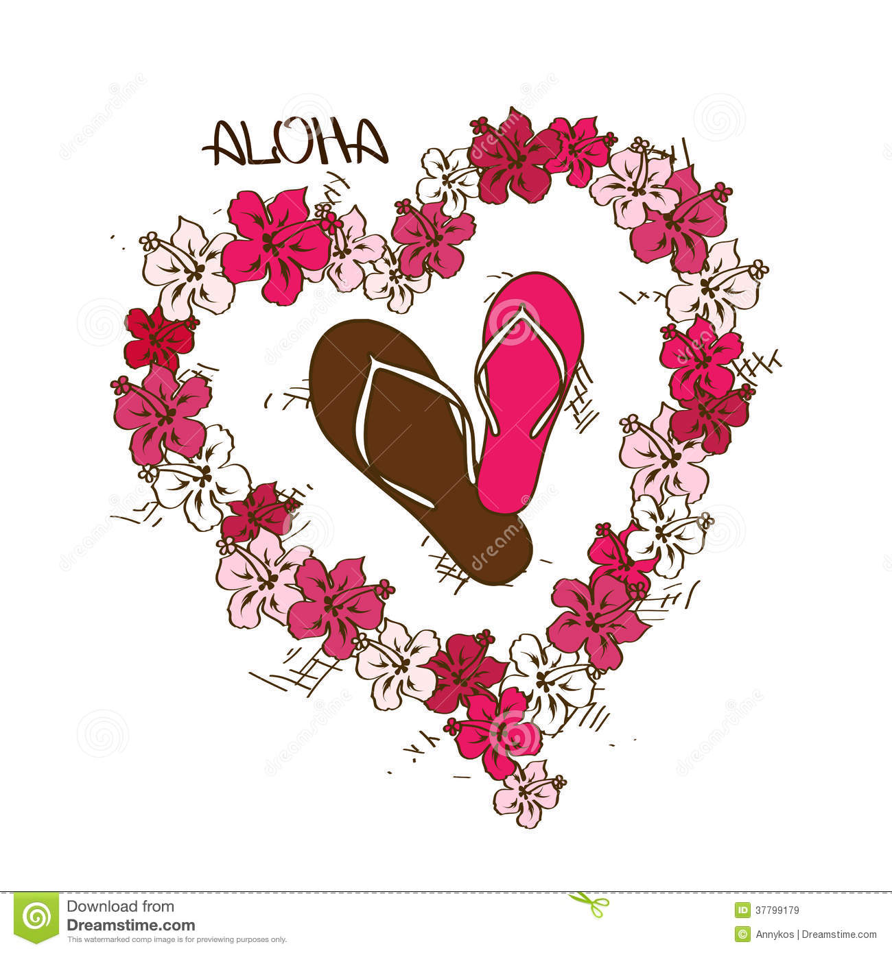 Illustration With Flip Flops And Lei Flowers Garland Stock Vector