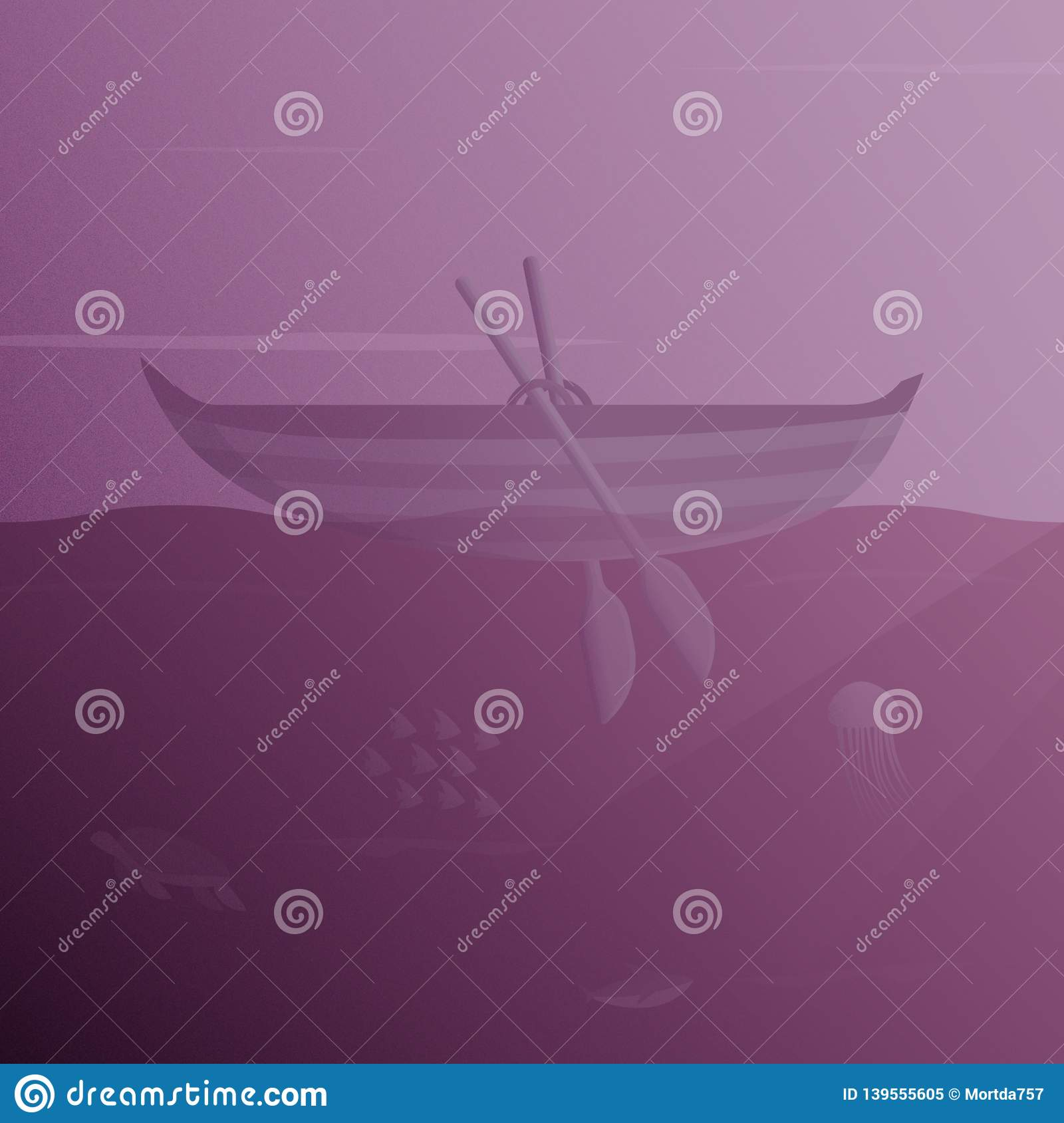 Illustration Of a Floating Boat With Underwater View and Sea Creatures