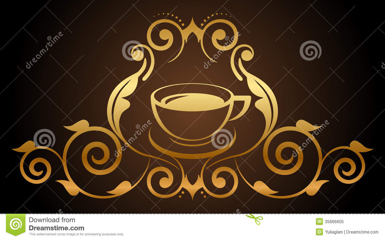 Illustration of floral gold coffee icon