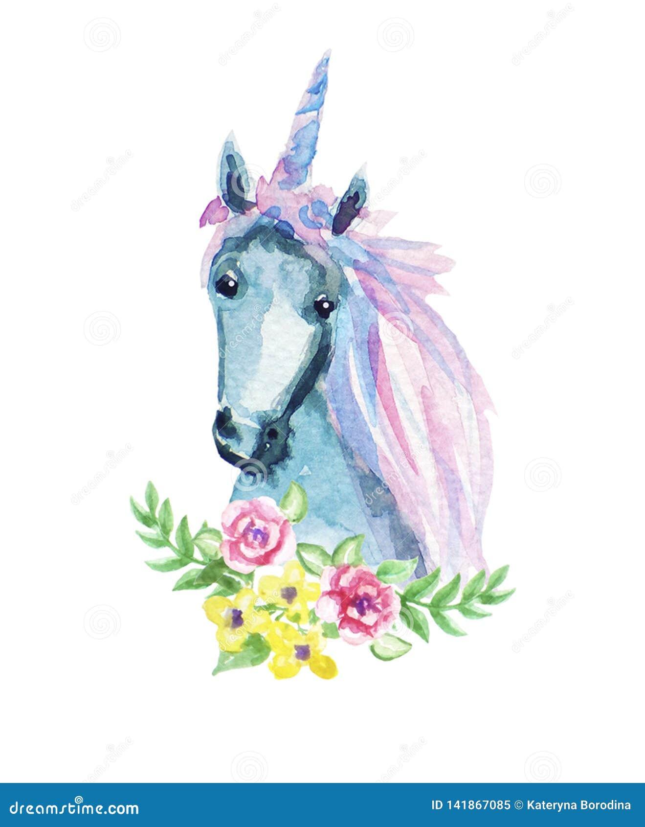 Illustration florale animale d aquarelle - licorne avec des éléments de fleur et de plume pour épouser, anniversaire, anniversair