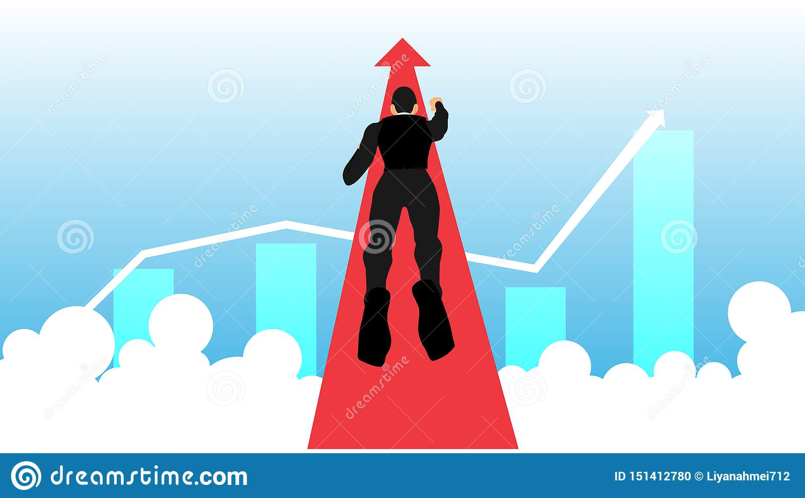 Illustration of a flying businessman heading for success