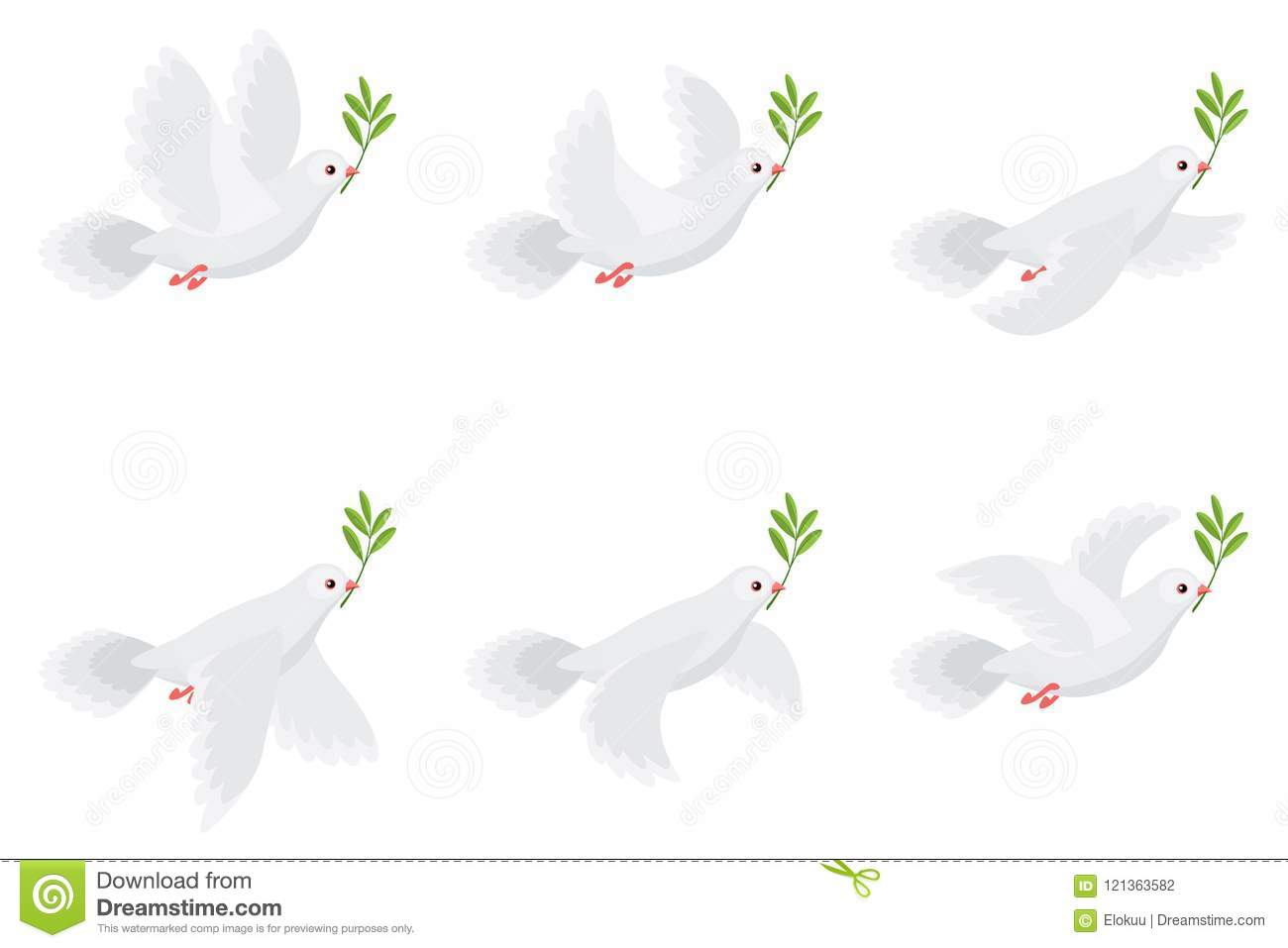 Illustration Of Flying Dove Holding Olive Branch Animation