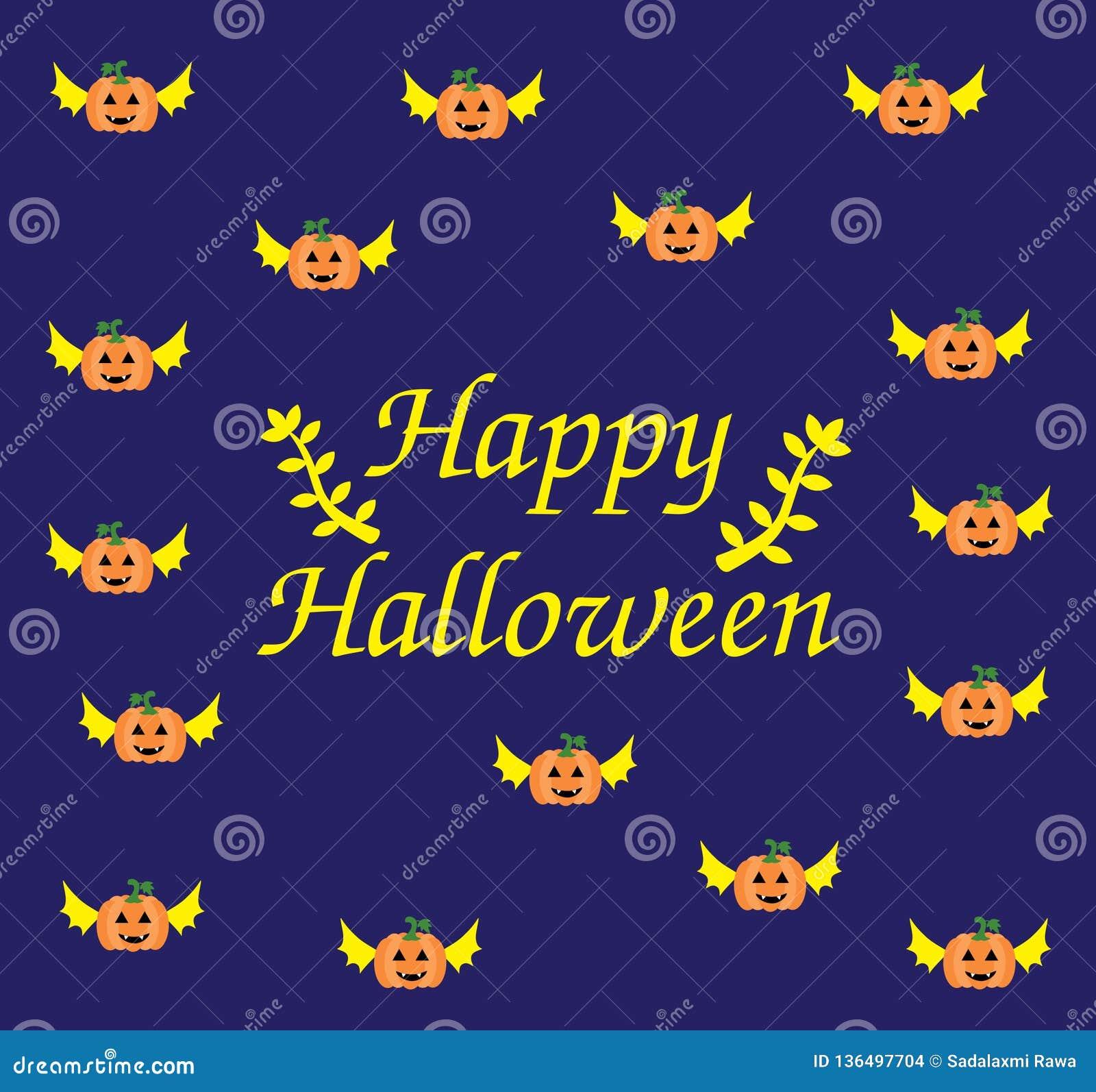 Halloween card of Flying Pumpkin
