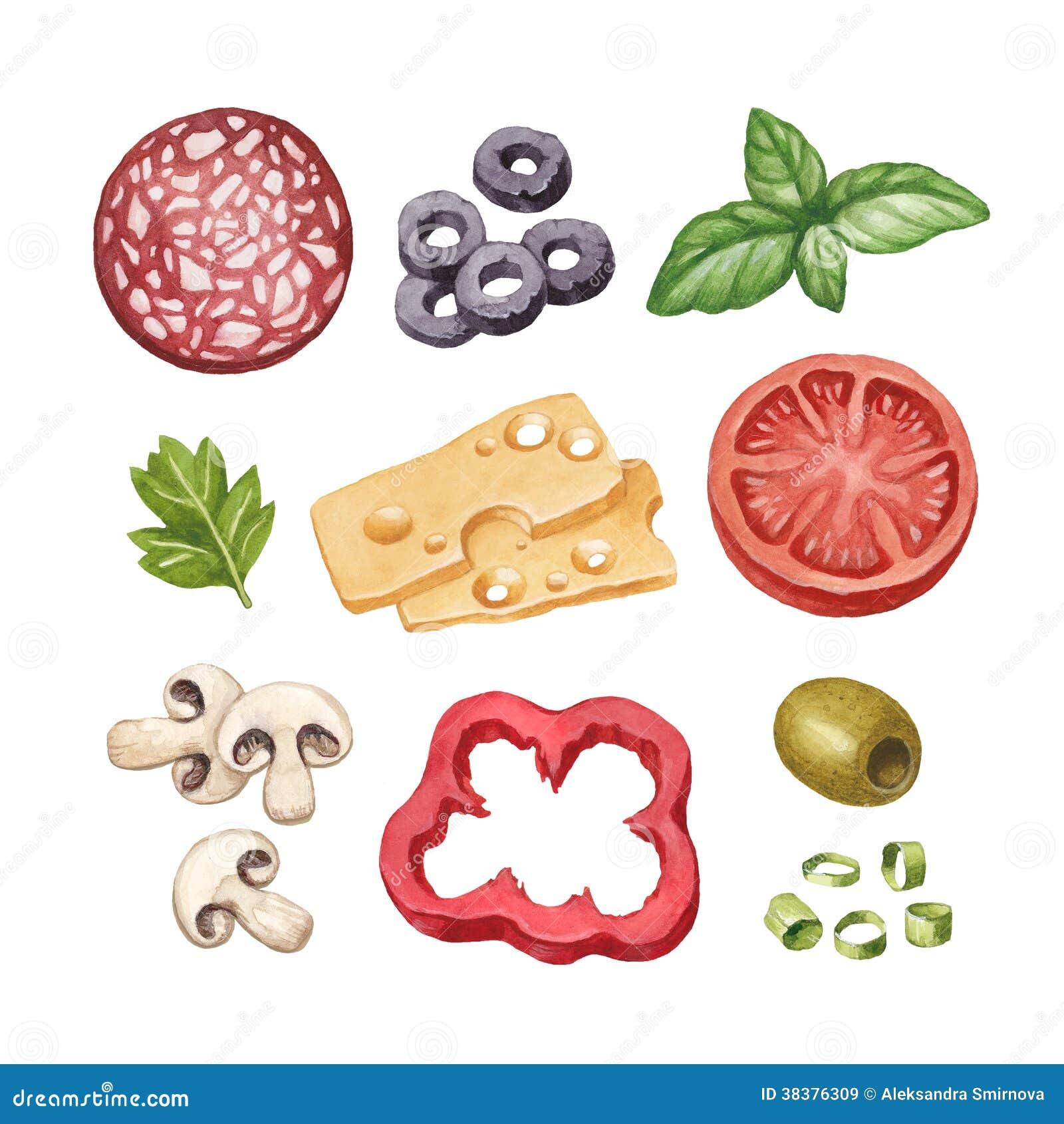 Illustration of food ingredients stock illustration for Art cuisine evolution 10 piece cooking set