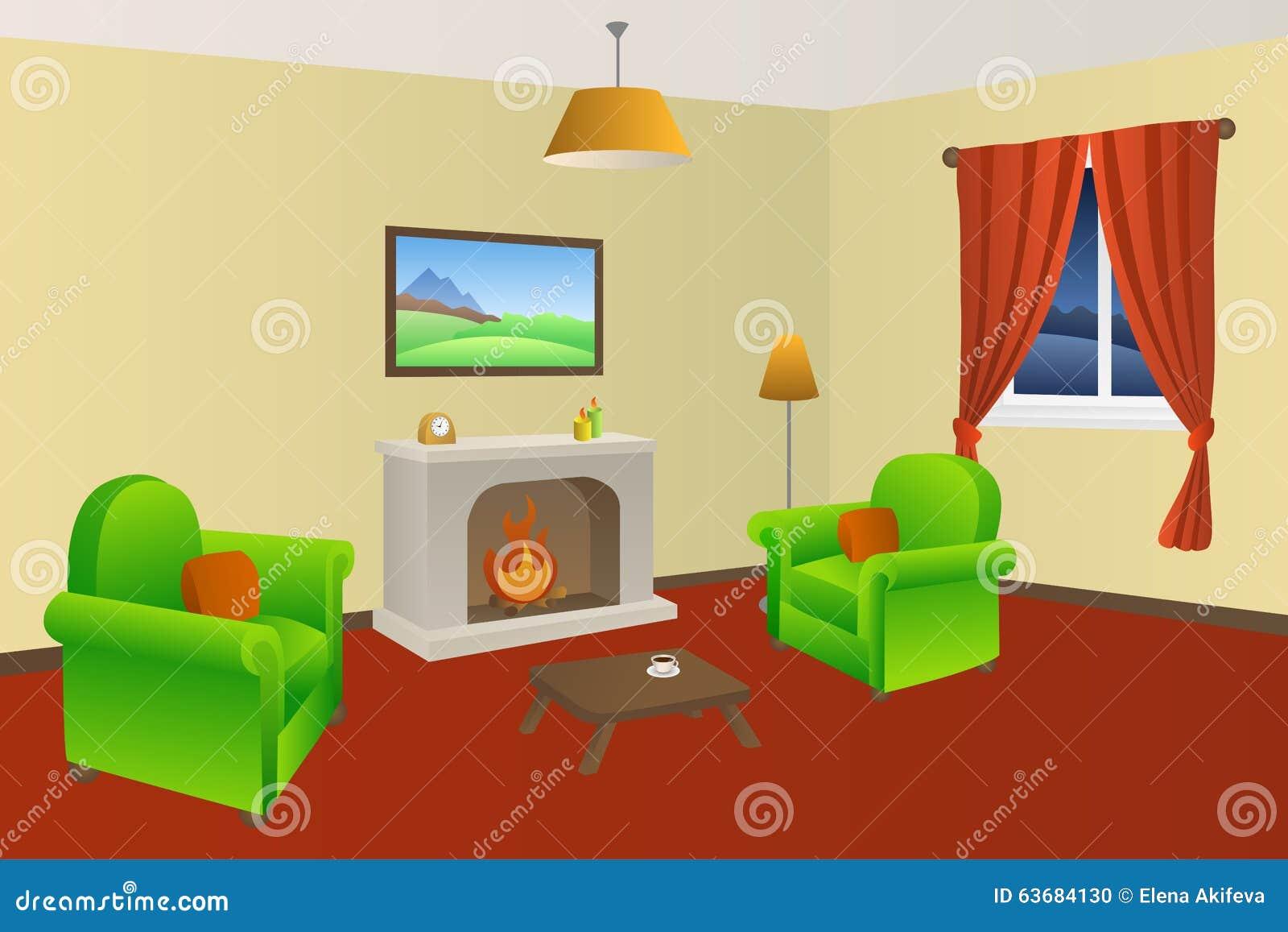 Vardagsrum med röda och gula väggar och spis. royaltyfri fotografi ...