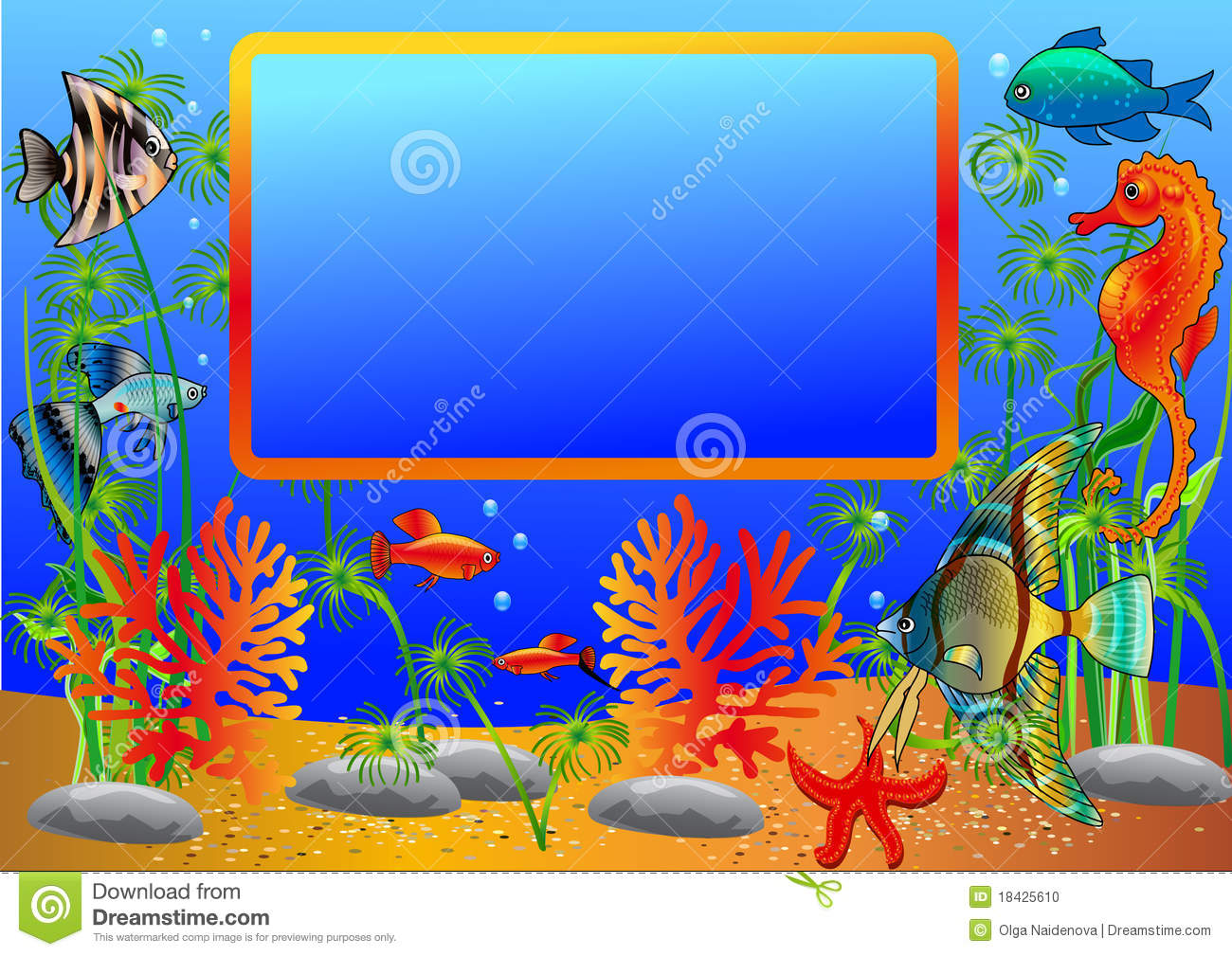 The coral reef frame border illustration for the children stock - Illustration Frame With Undersea Fish Stock Photo Image