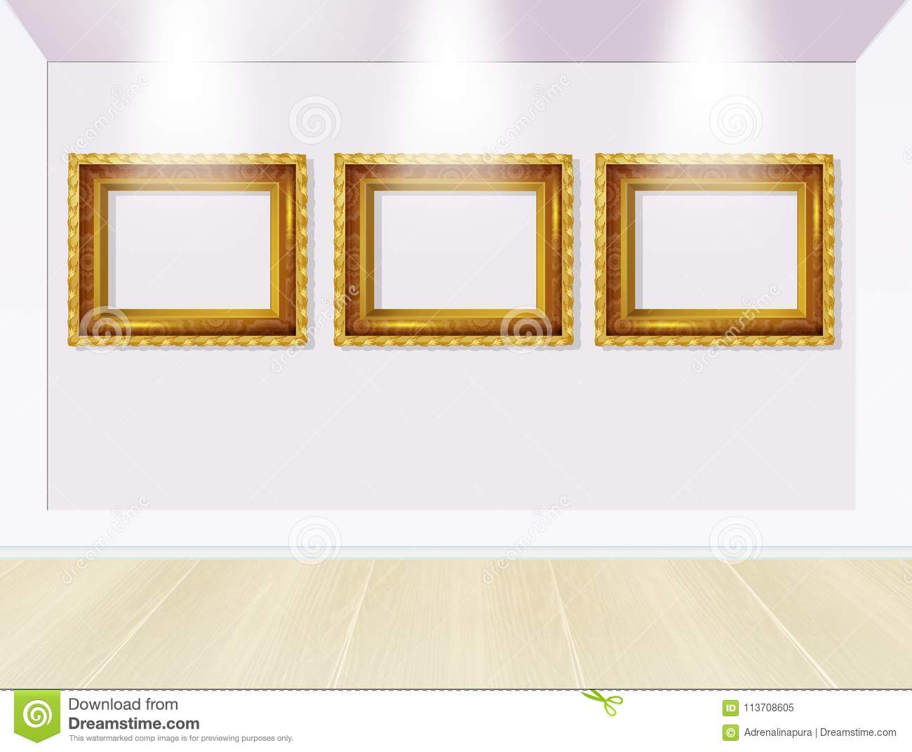 Frames in art gallery stock illustration. Illustration of gold ...