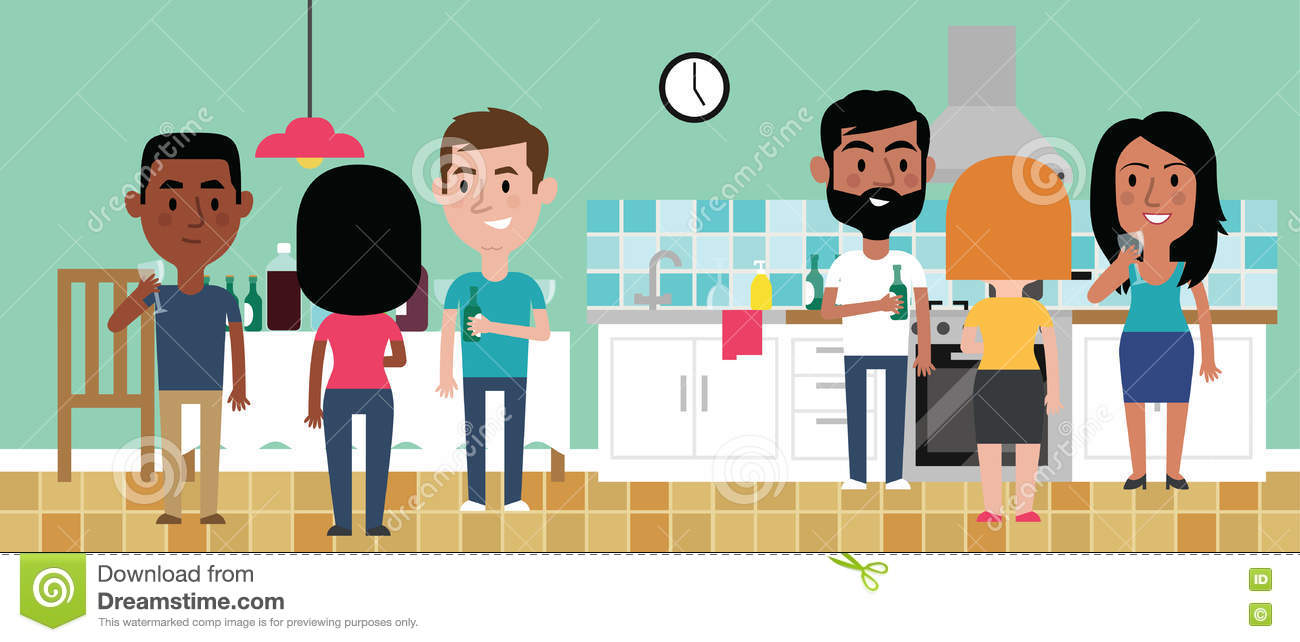 Illustration Of Friends Having Party In Kitchen At Home Stock Vector ...