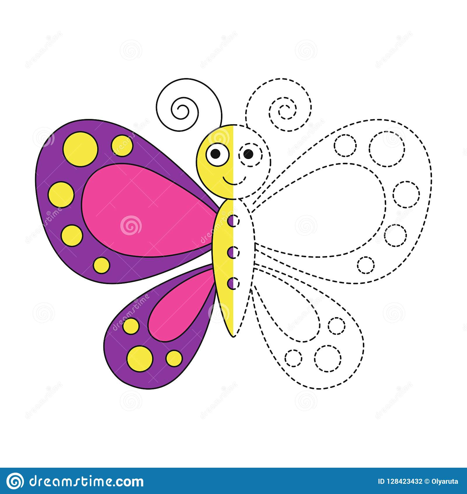 Illustration Of Funny Butterfly For Toddlers Stock Vector