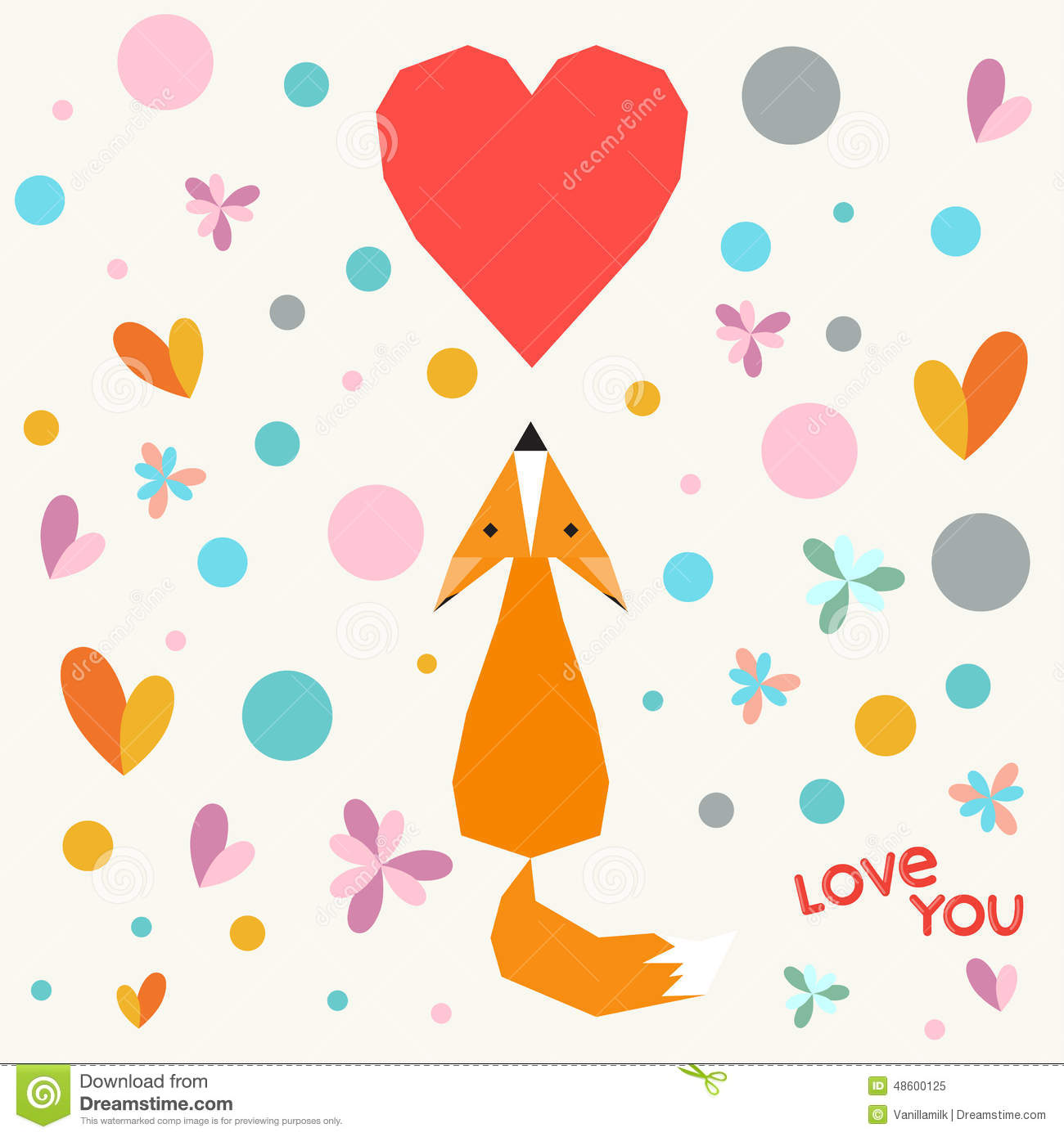 Illustration With Funny Cartoon Geometric Fox Flowers And Hearts