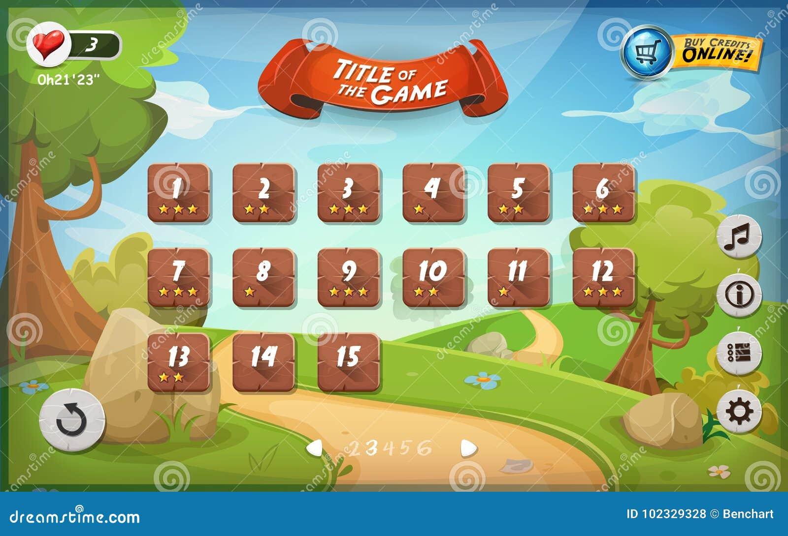 Game User Interface Design For Tablet Stock Vector - Illustration of