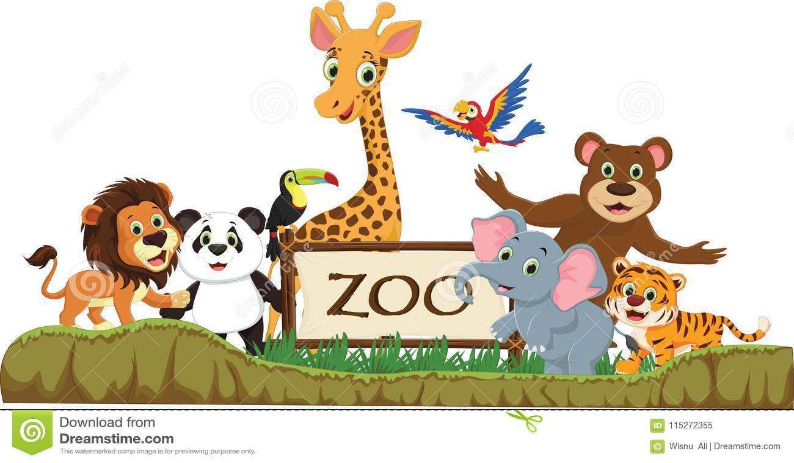 Illustration Of Funny Zoo Animal Cartoon