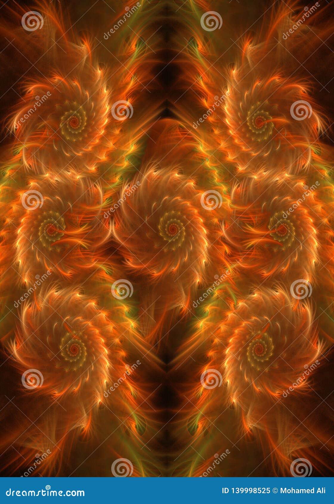 Illustration générée par ordinateur artistique du résumé 3d de fond ardent sinueux doux pur de fractale