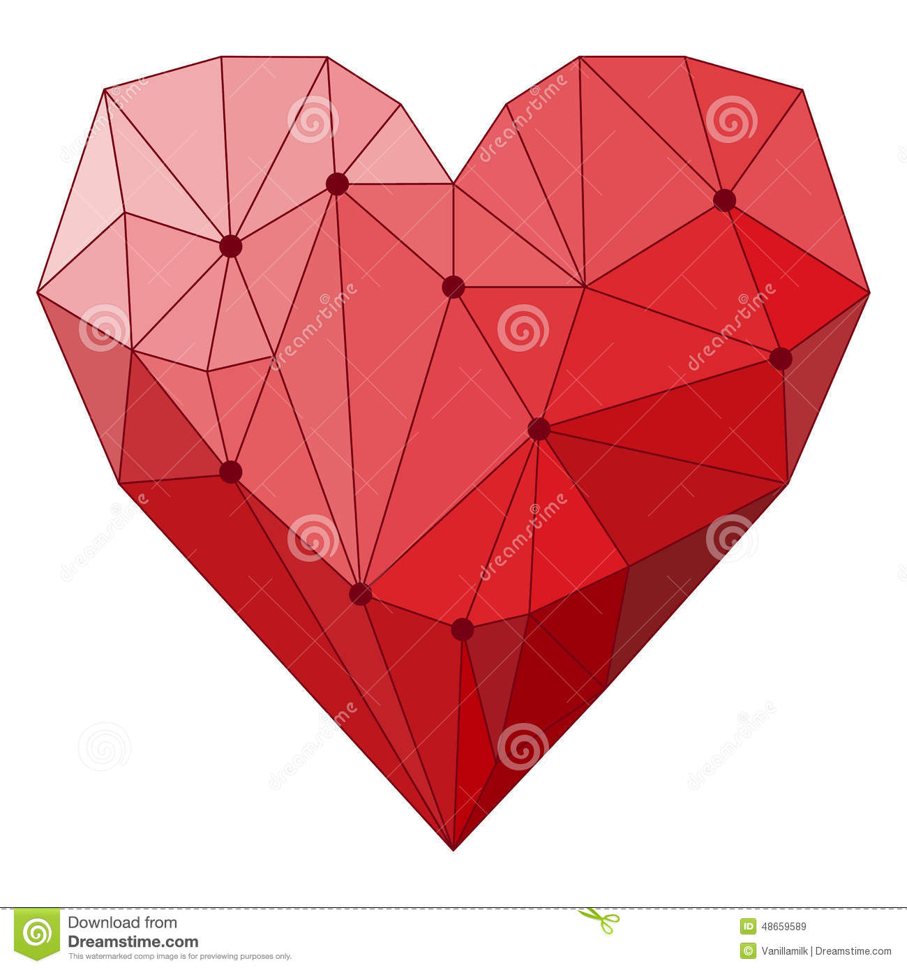 Illustration With Geometric Abstract Polygonal Heart ...