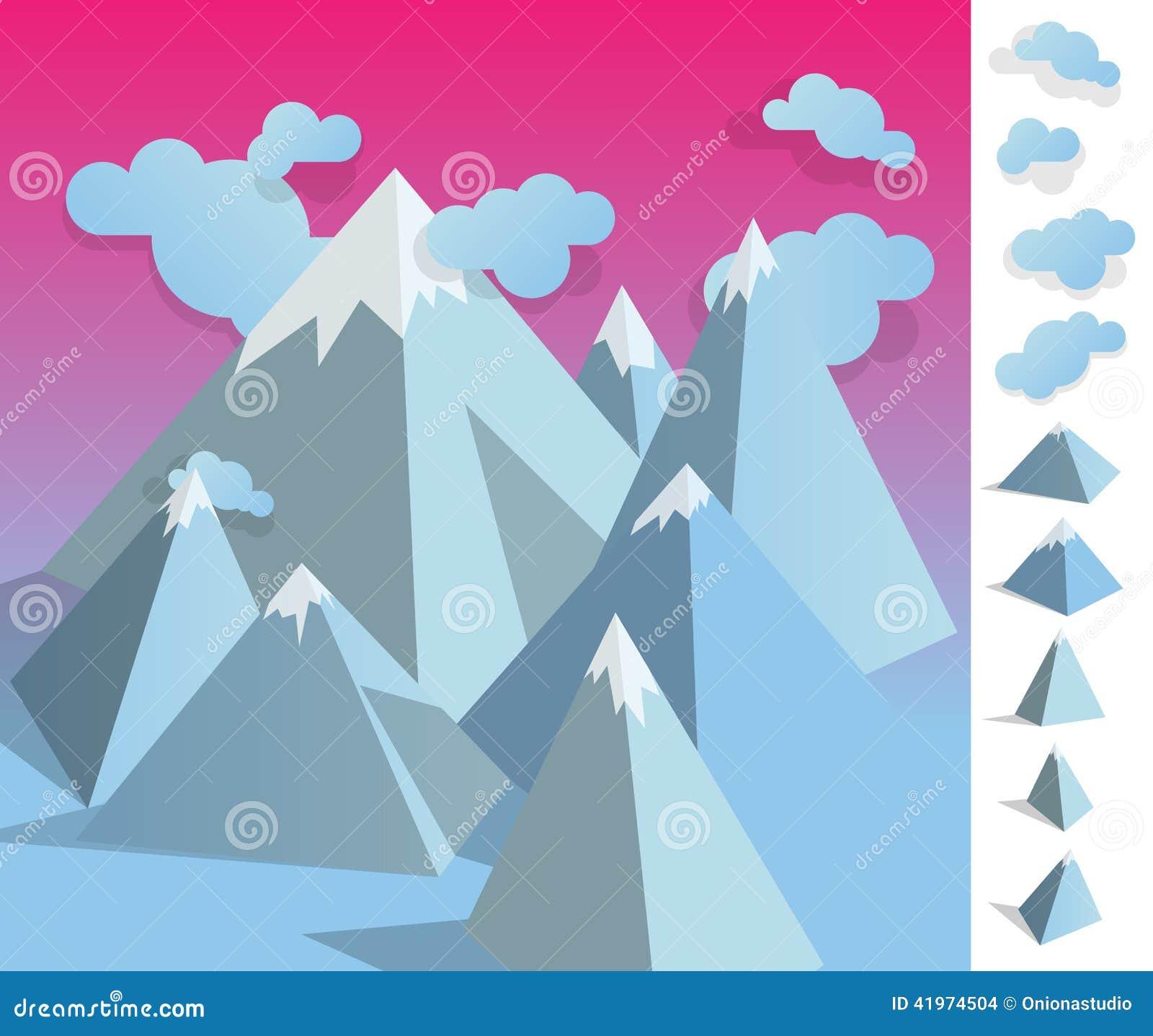 Illustration Of Geometric Iceberg Mountain Landscape Stock