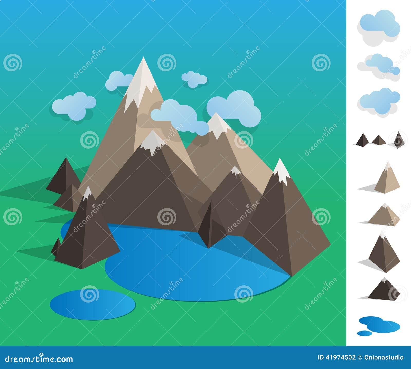 Landscape Illustration Vector Free: Illustration Of Geometric Mountain Lake Landscape Stock
