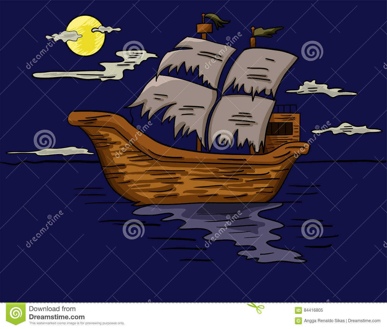 illustration of a ghost ship sailing at sea stock vector