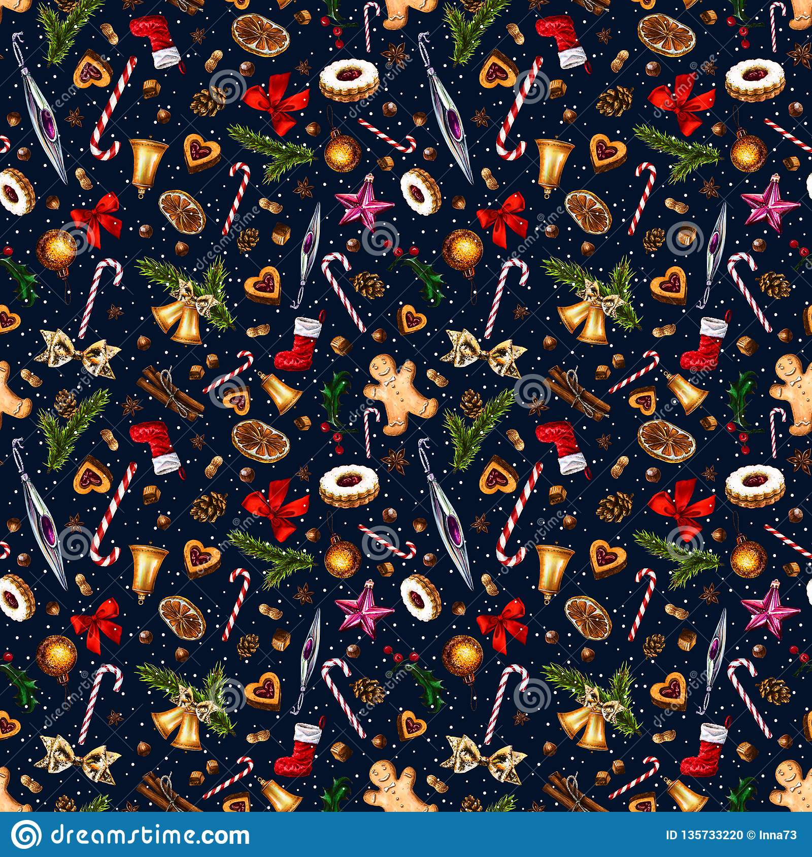 Festive seamless pattern with winter holiday attributes on dark blue background with white snow dots.