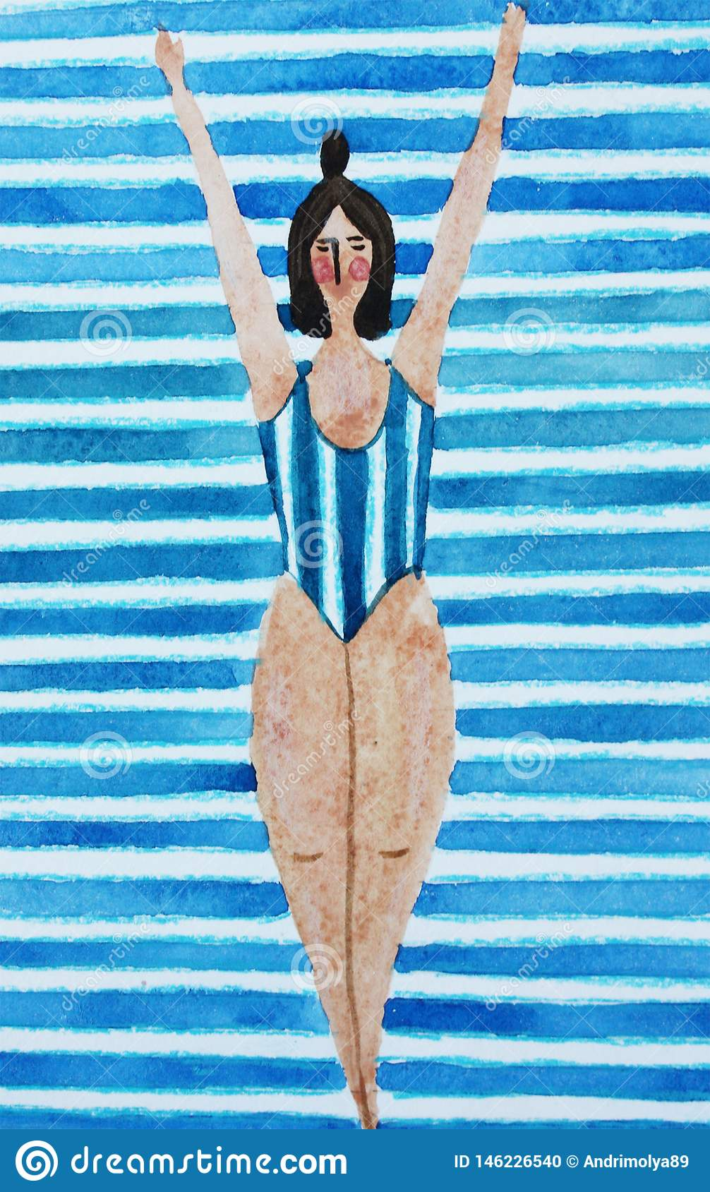 Illustration with a girl in a blue striped swimsuit