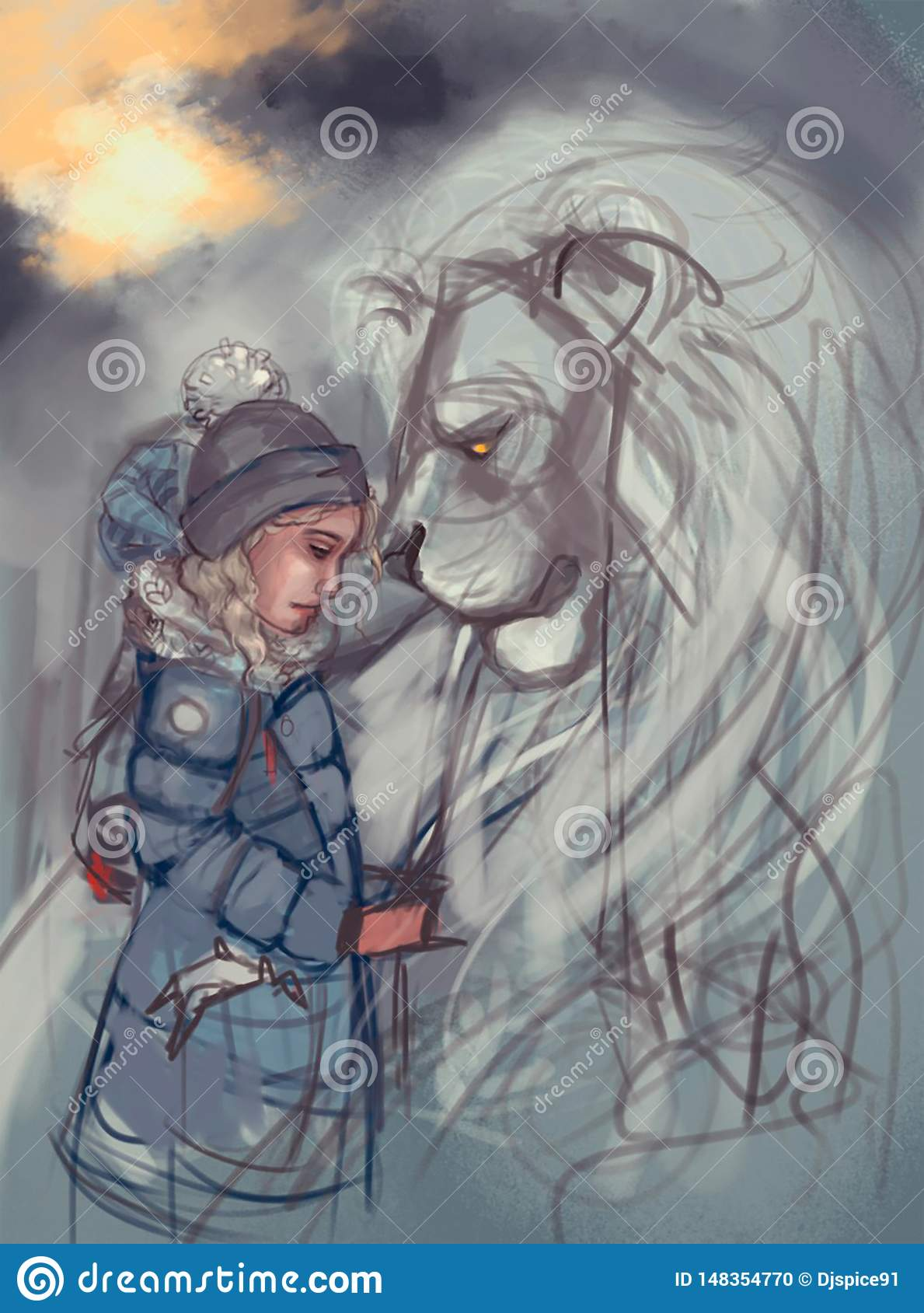 Illustration of a girl and a lion