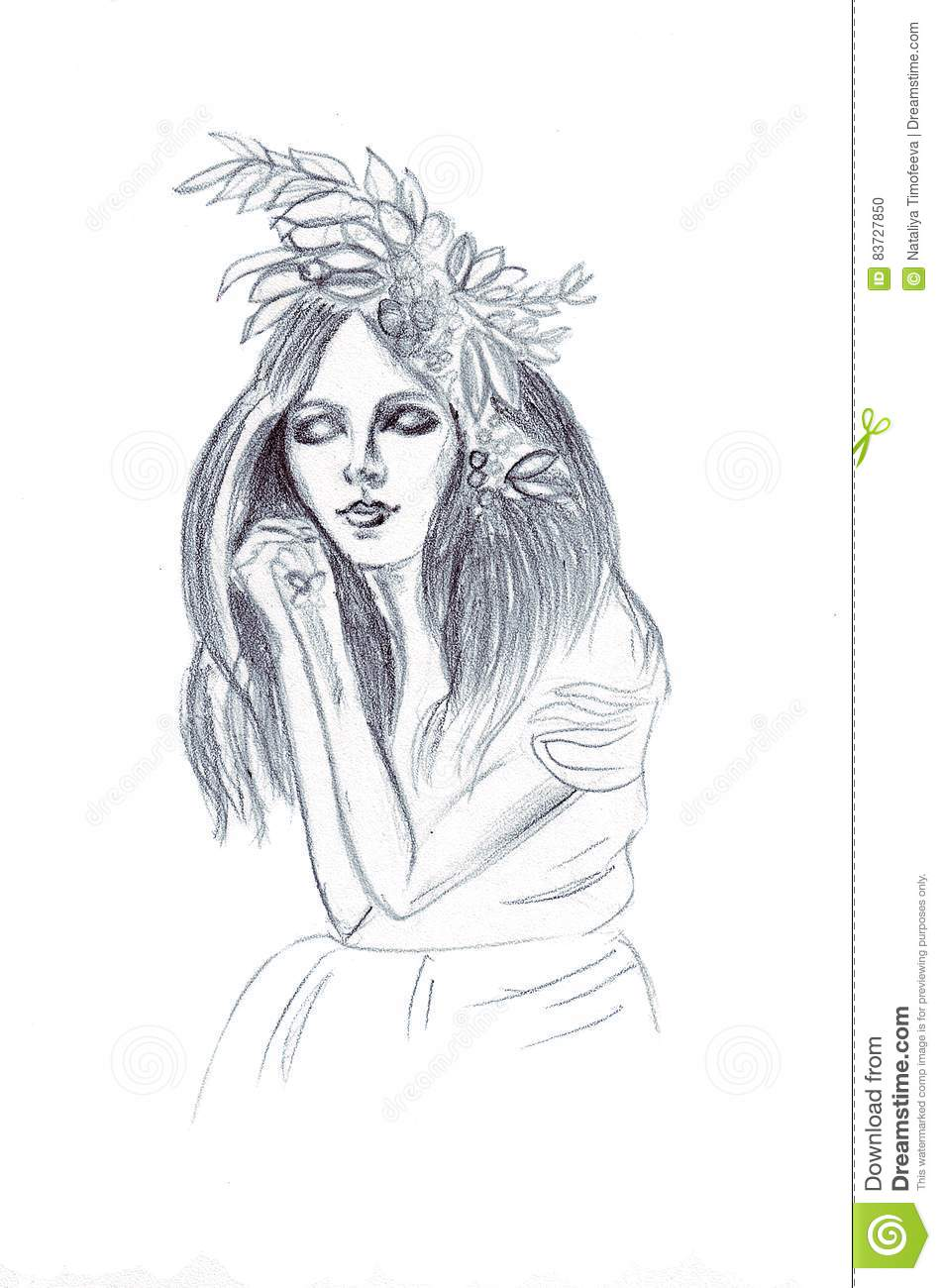 Illustration Of A Girl In A Pencil Drawing With Hair And
