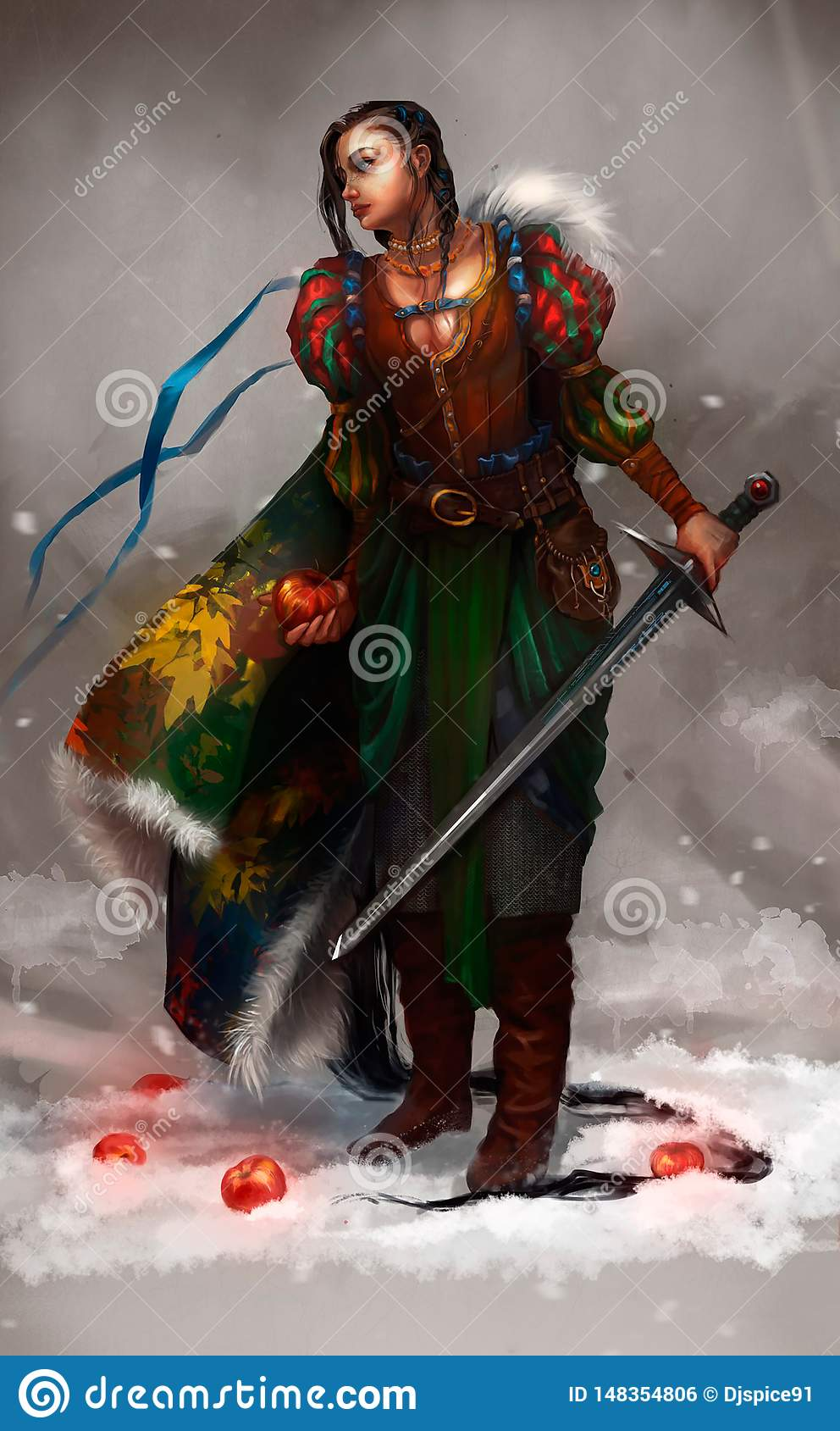 Illustration of a girl with a sword