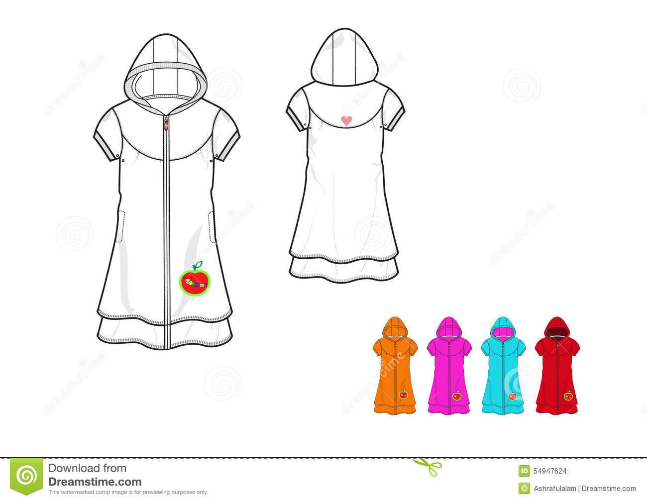 illustration of girls hooded fleece long knit fabric jacket design
