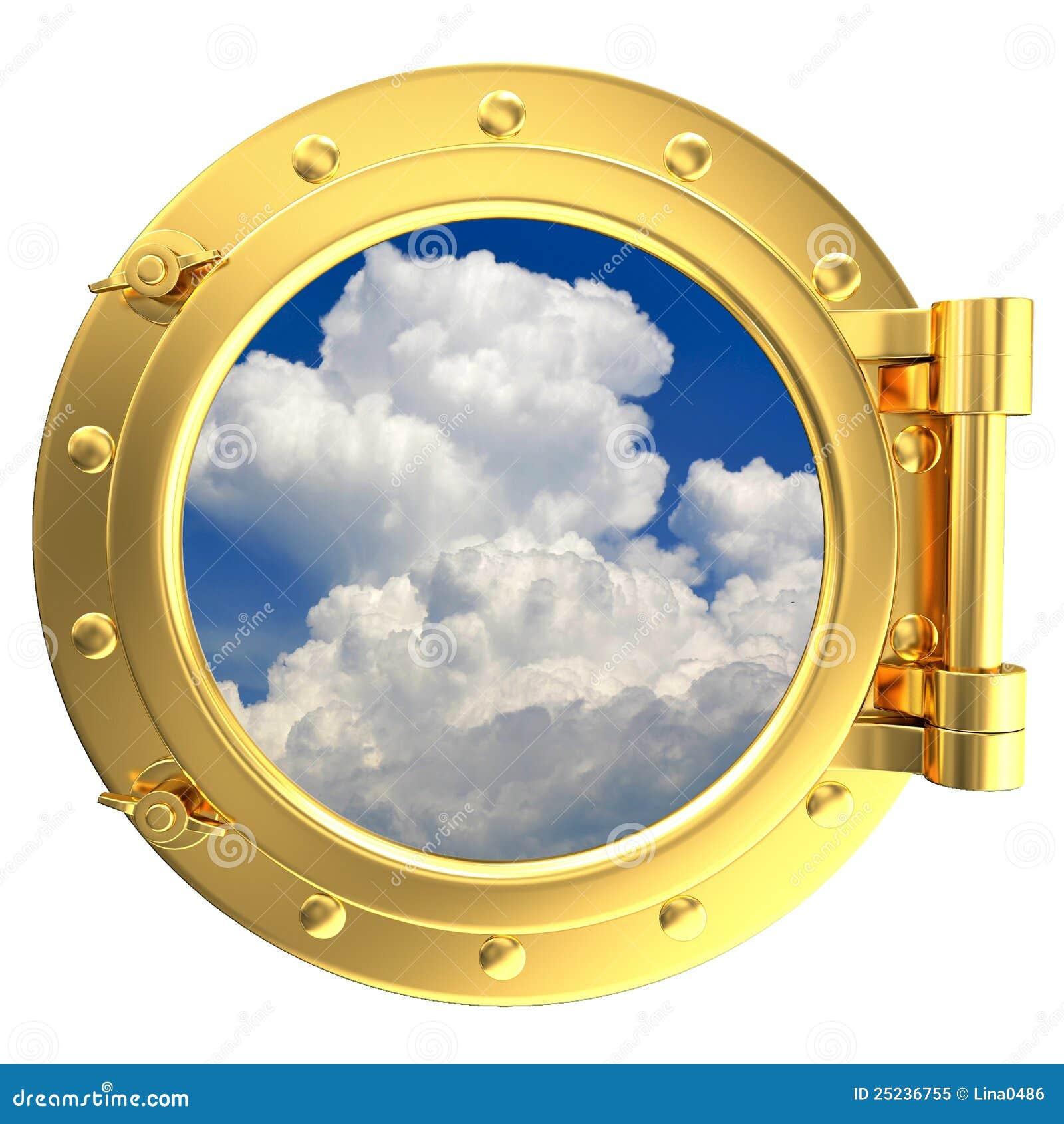 illustration of a gold ship porthole stock illustration illustration of cloudscape navigation. Black Bedroom Furniture Sets. Home Design Ideas