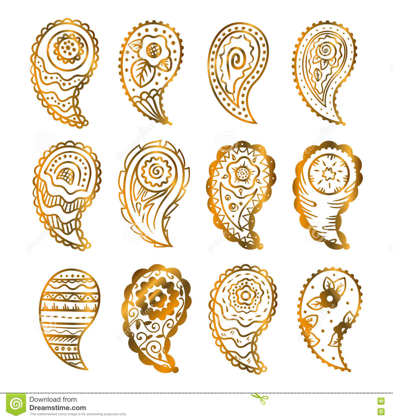 Illustration Of Golden Paisley Pattern Traditional Indian Style