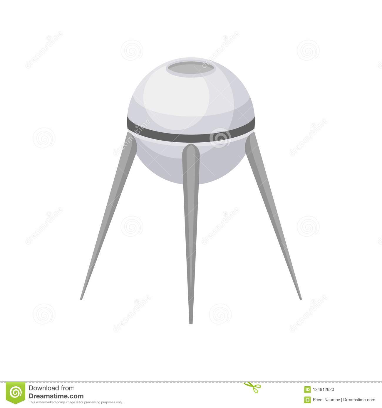 Gray round-shaped artificial satellite. Modern space technology. Flat vector element for mobile or computer game