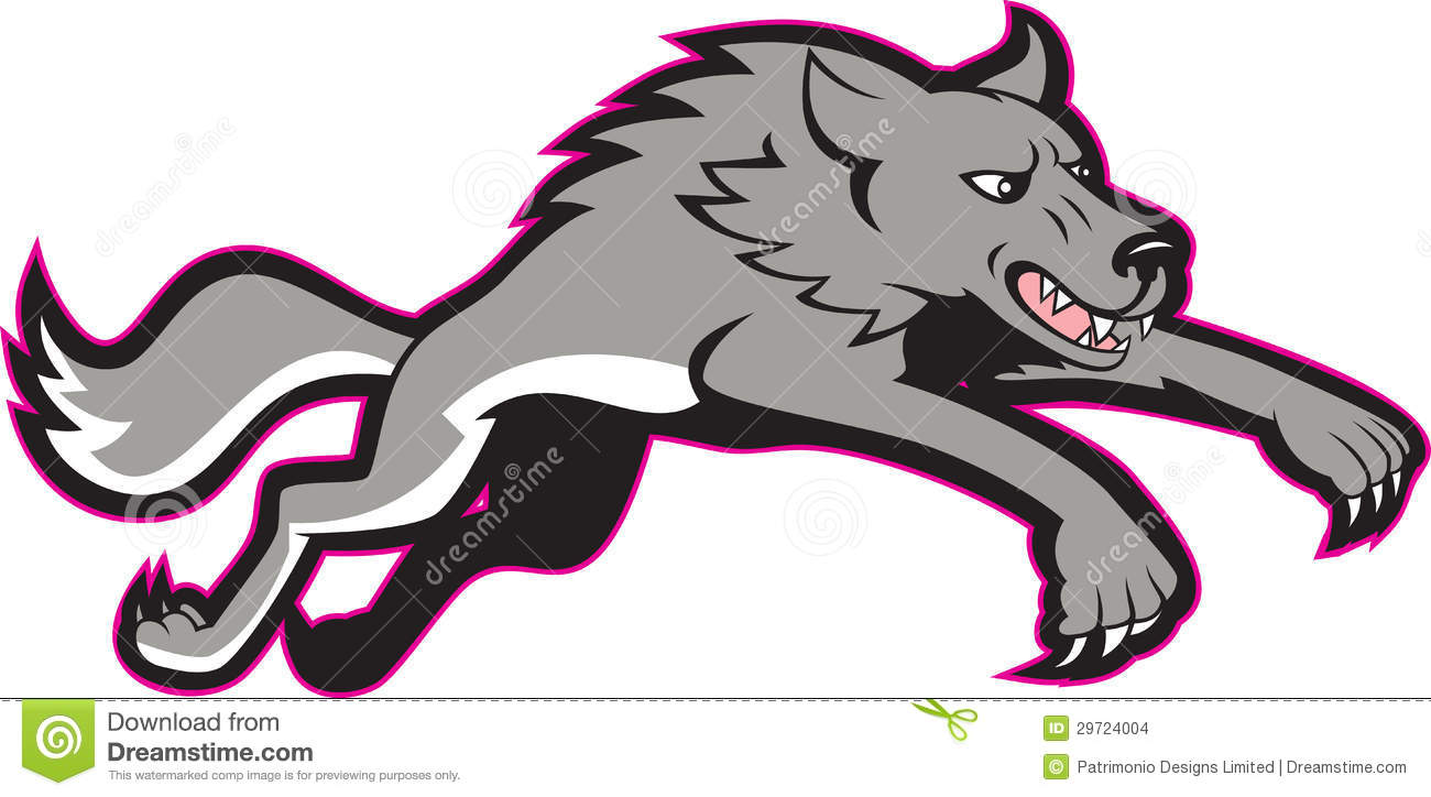 Illustration of a gray wolf jumping attacking done in cartoon style.