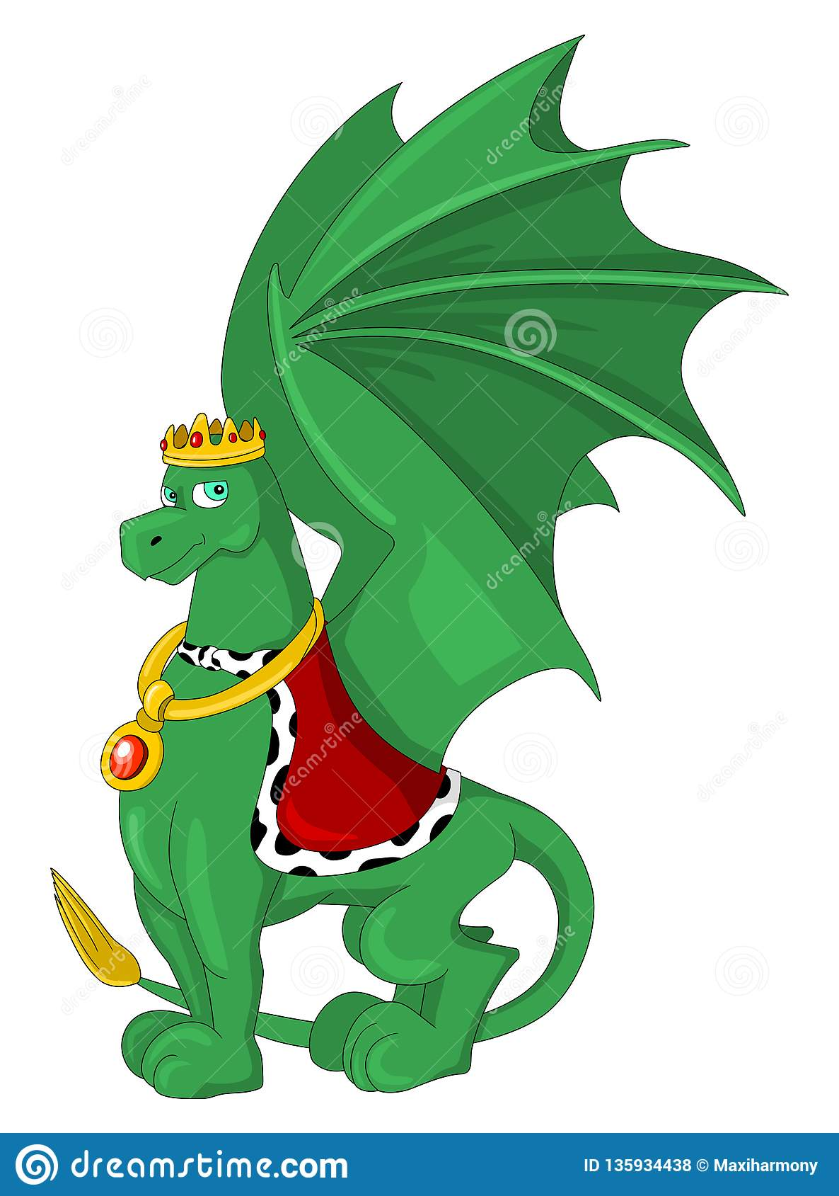 Cartoon of a green royal dragon