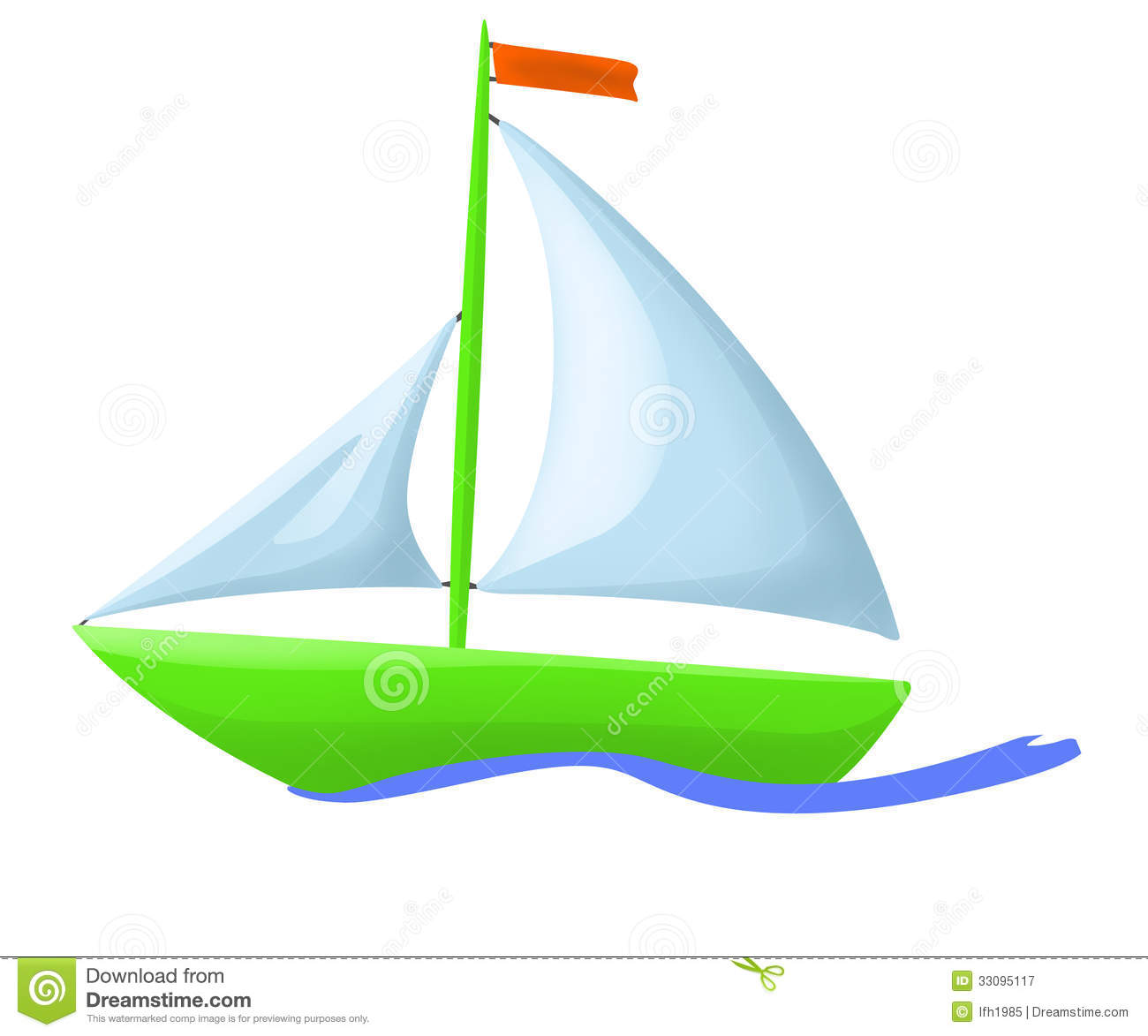 Illustration Of Green Floating Boat Royalty Free Stock ...