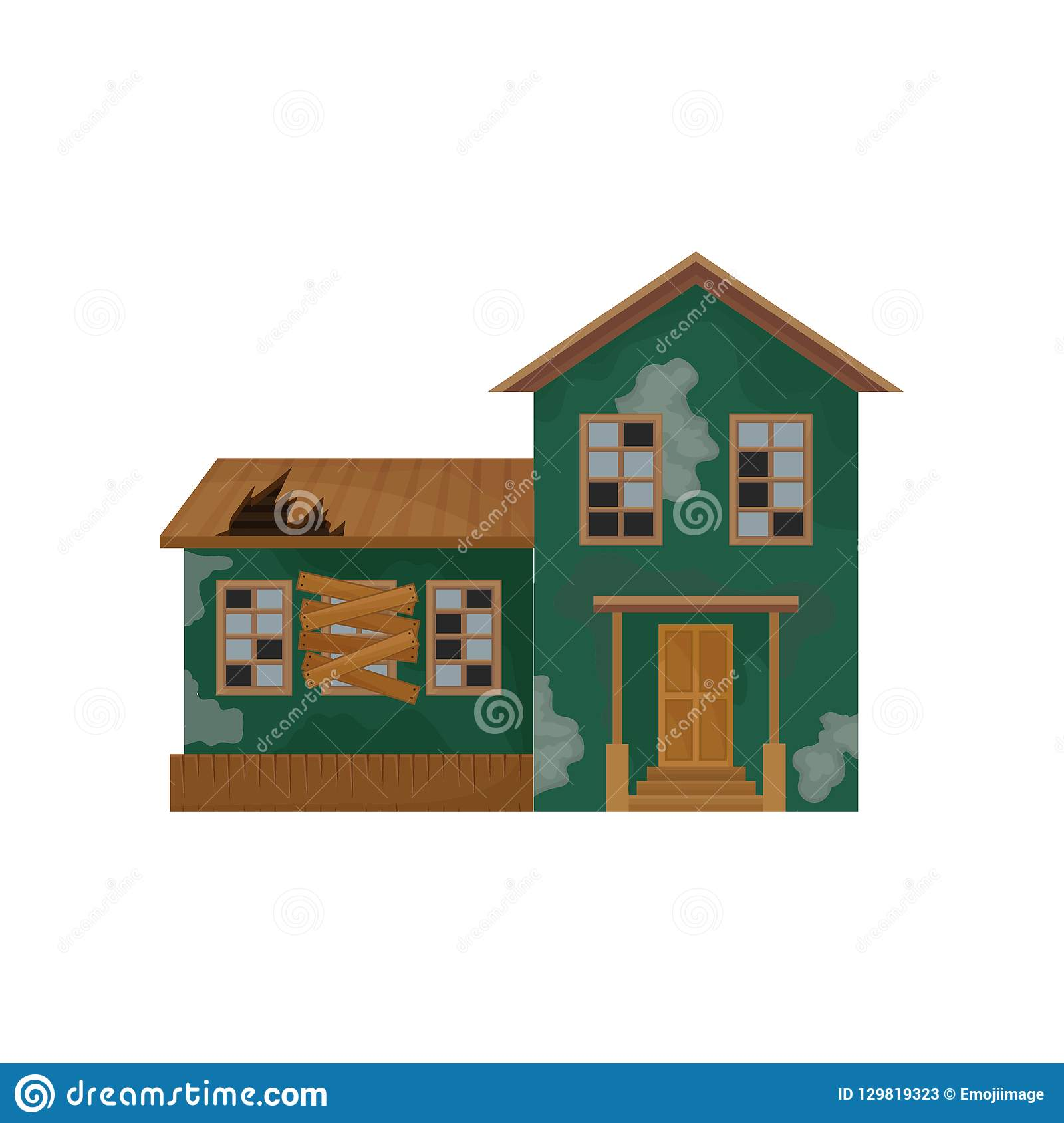 Green House With Peeling Paint Broken Roof And Windows Abandoned Home Private Home Old Building Flat Vector Design Stock Vector Illustration Of Cottage Flat 129819323