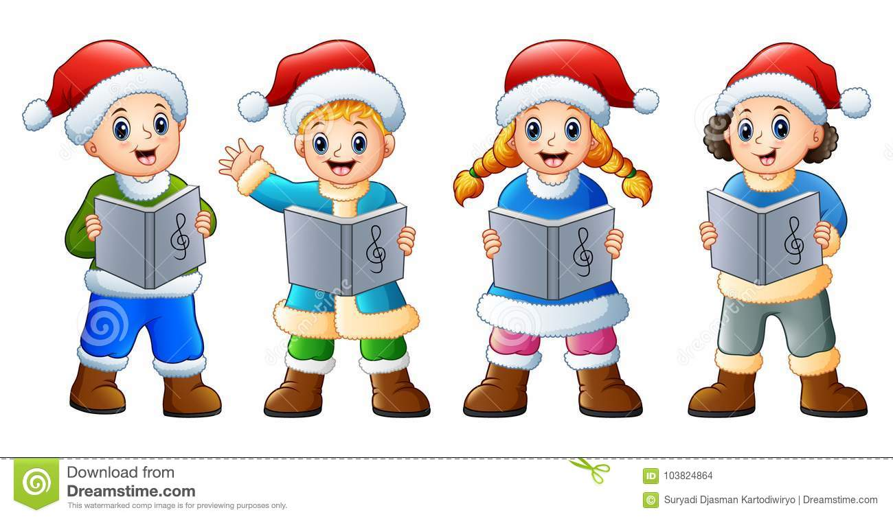 Group Of Kids In Santa Costume Singing Christmas Carols Stock Vector ...
