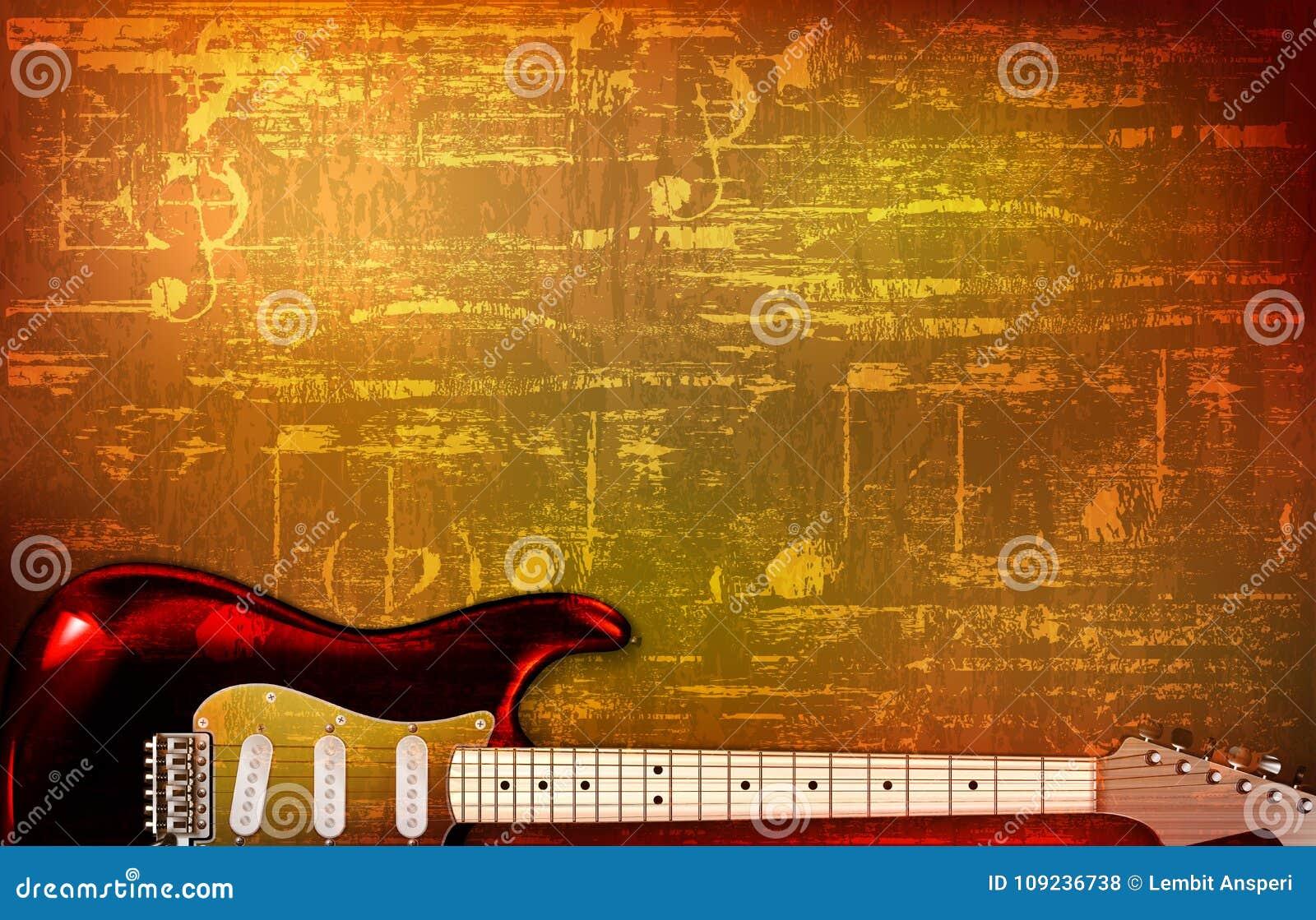 Illustration grunge abstraite de vecteur de guitare électrique de fond de bruit de vintage