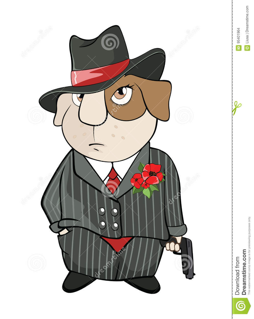 Illustration Of A Guinea Pig Gangster Cartoon Character Stock