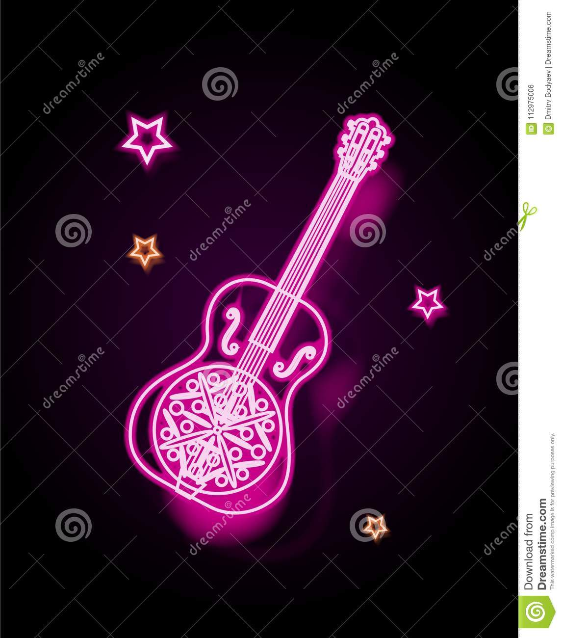 Illustration, a guitar stylized as a neon lamp